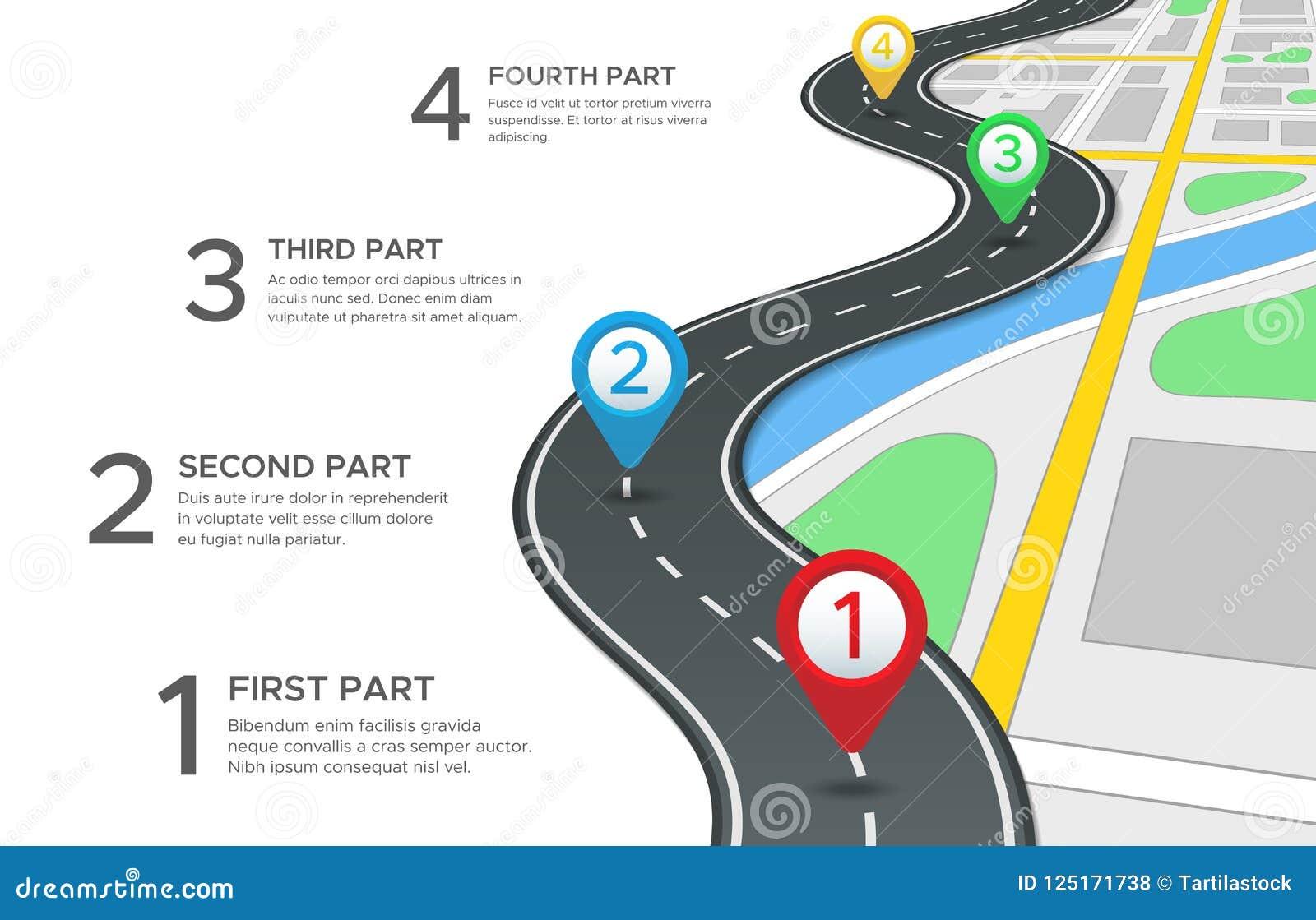 Camino de la carretera infographic El mapa de caminos de la calle, la trayectoria de la manera de la navegación de los gps y el v