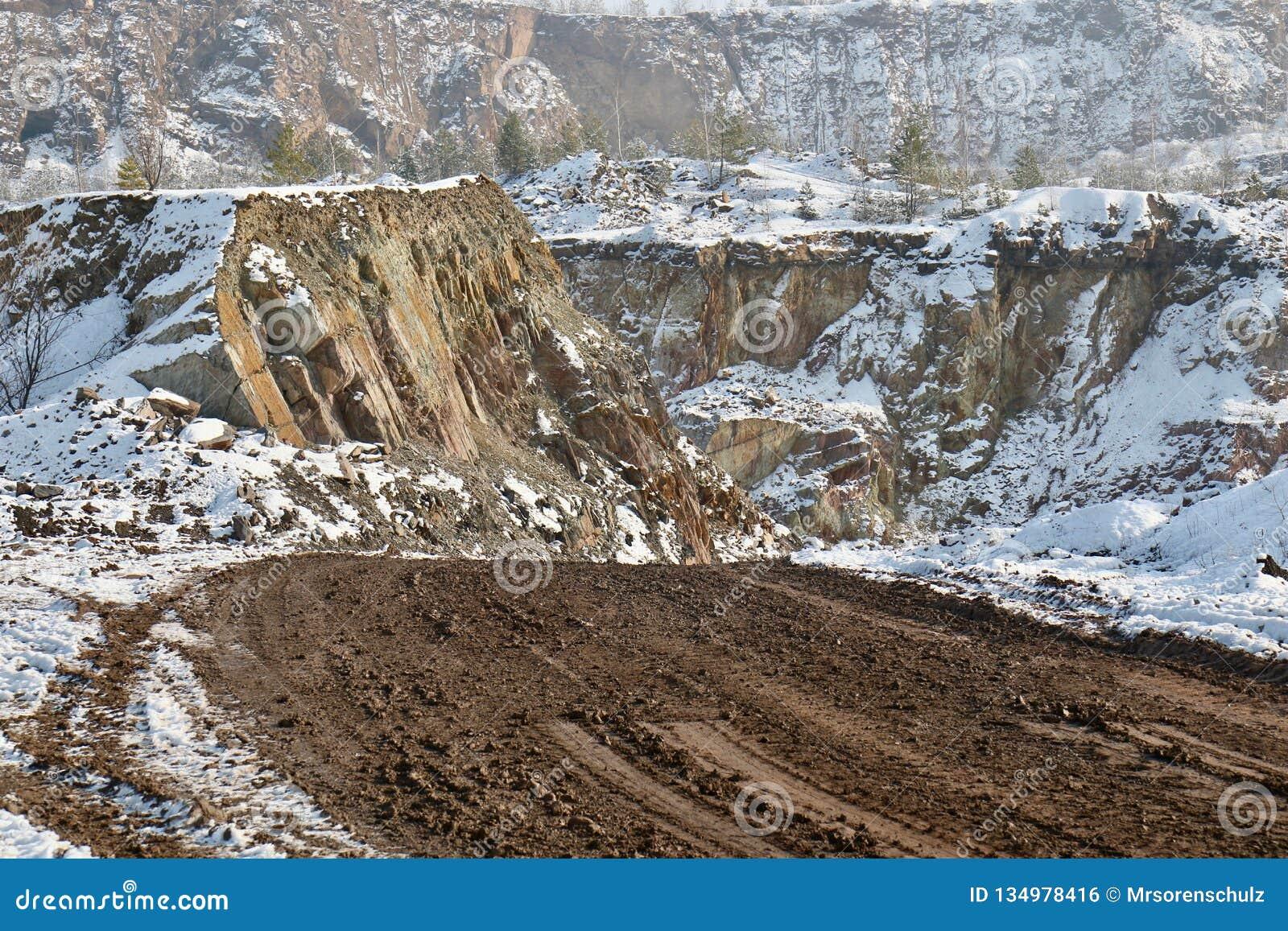 Camino de tierra en el paisaje/la mina Nevado