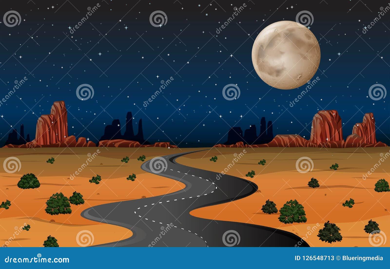 Camino del desierto de Arizona en la noche