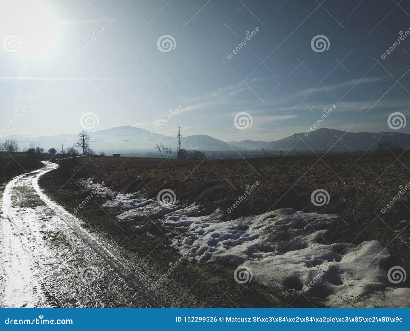 Camino del invierno del campo