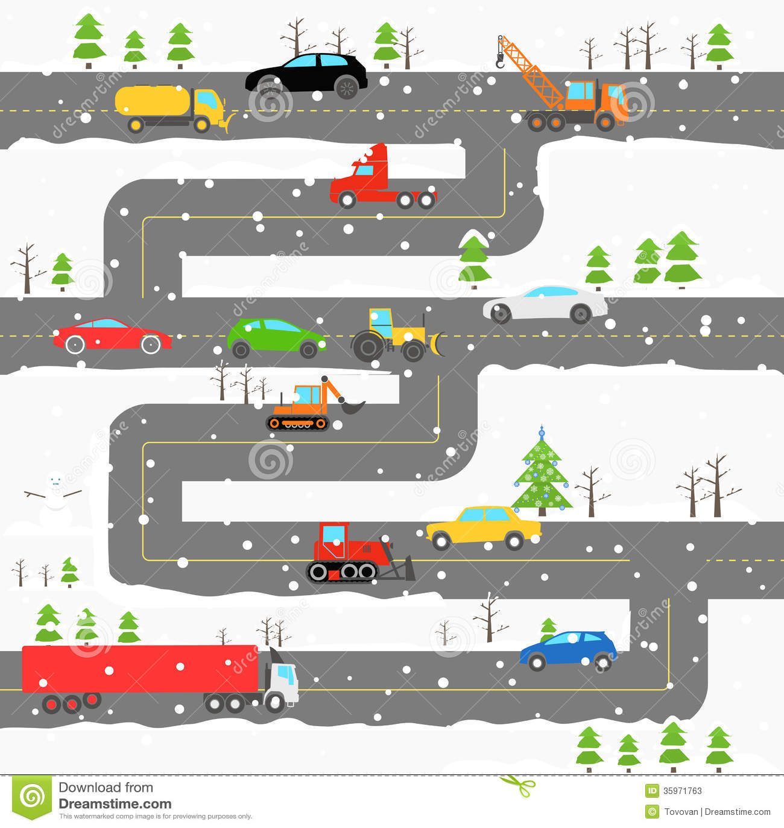 Camino del invierno con los coches