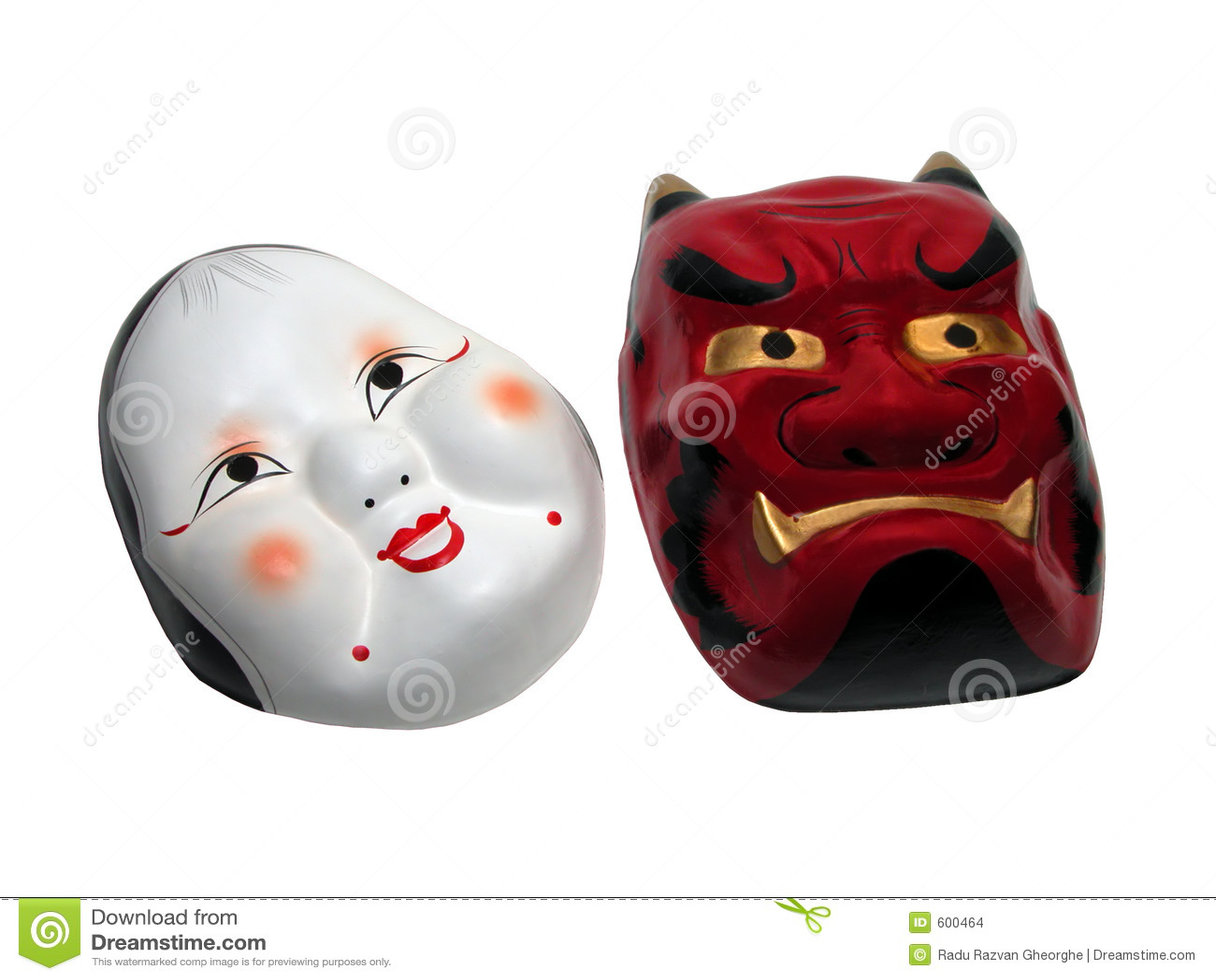 Camino del máscara-recortes de dos japoneses