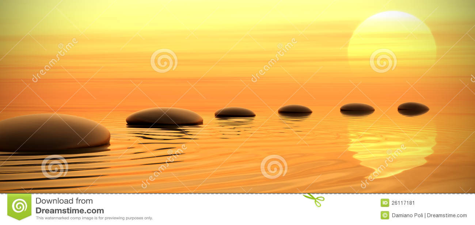 Camino del zen de piedras en puesta del sol en con for Fotos piedras zen