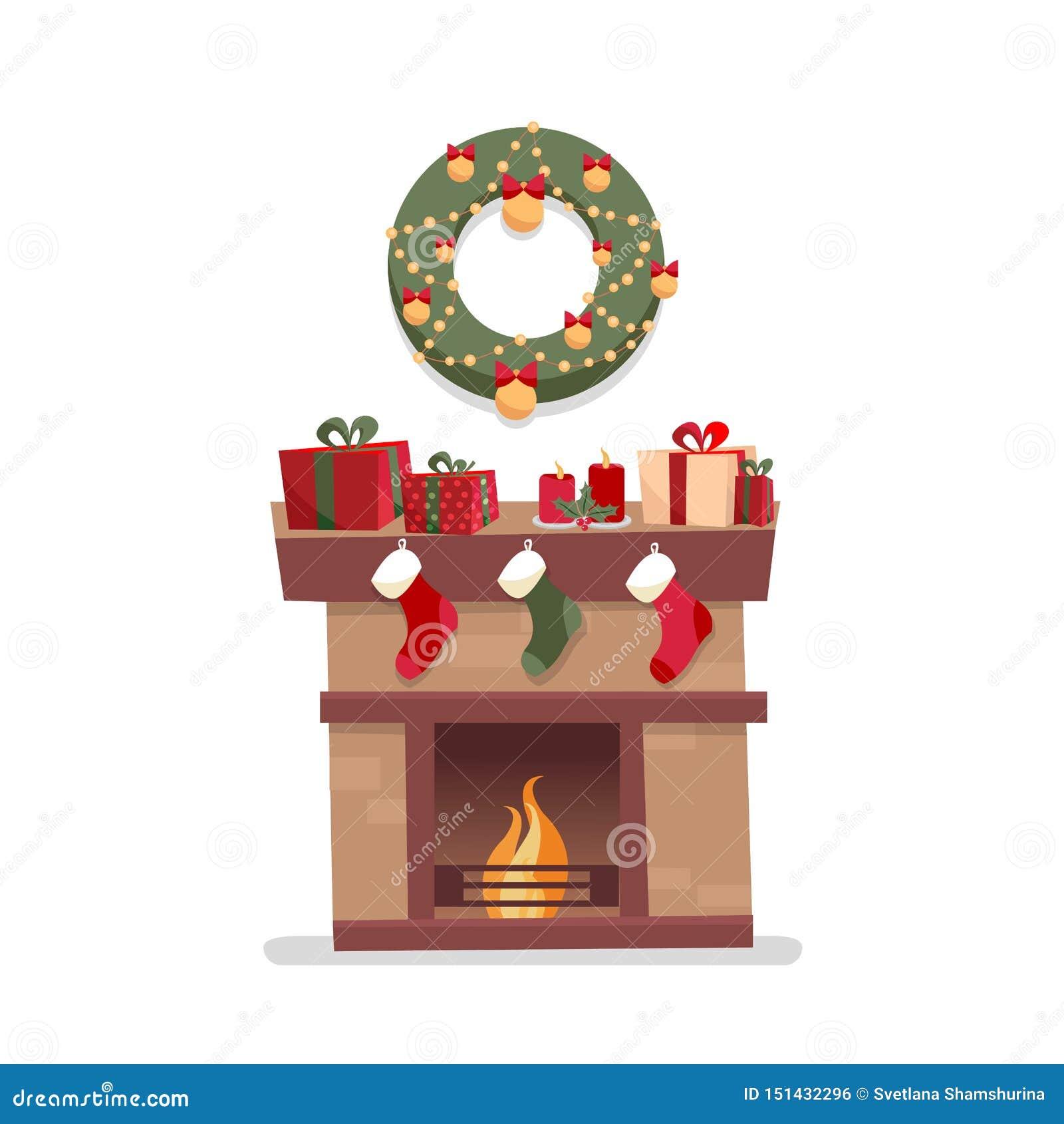 Camino di Natale con i calzini, le decorazioni, i contenitori di regalo, i candeles, i calzini e la corona su un fondo bianco Sti