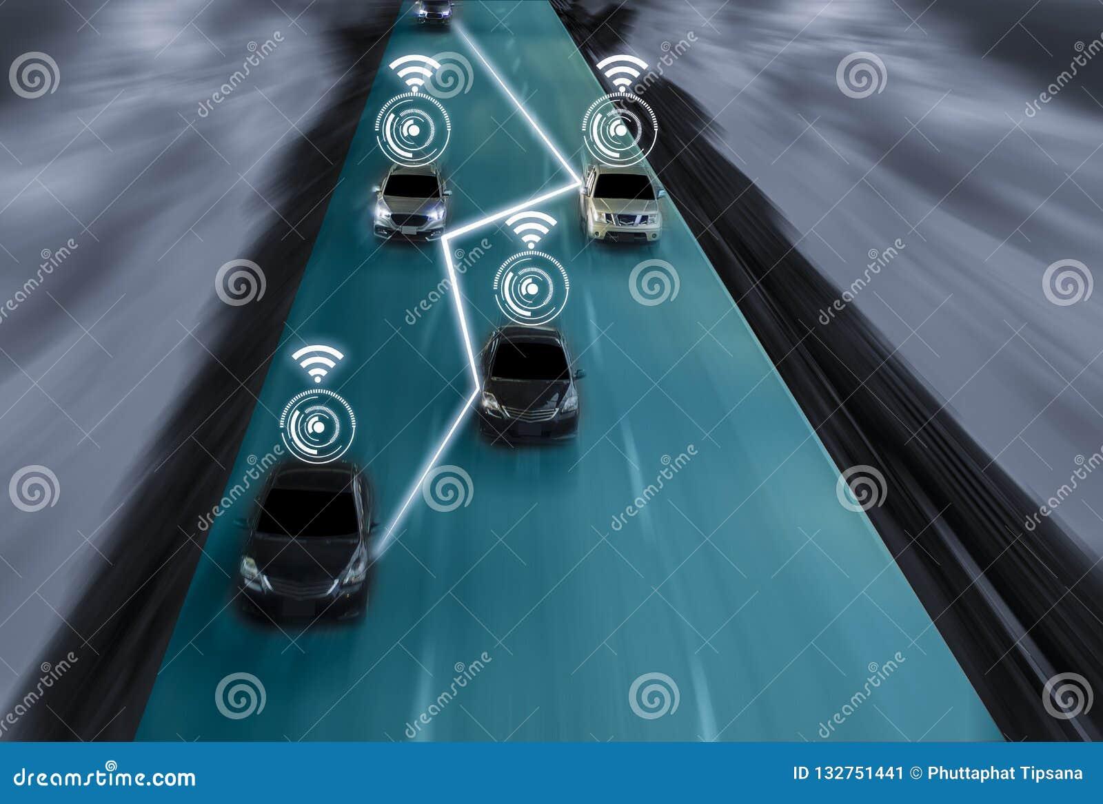 Camino futurista del genio para el uno mismo inteligente que conduce los coches, arte