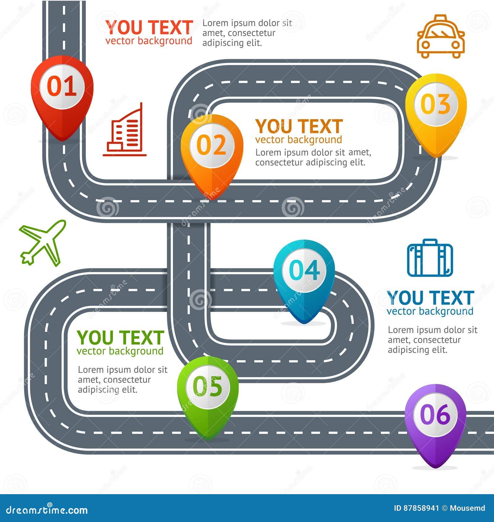 Camino Infographic con la ubicación Mark Elements Vector