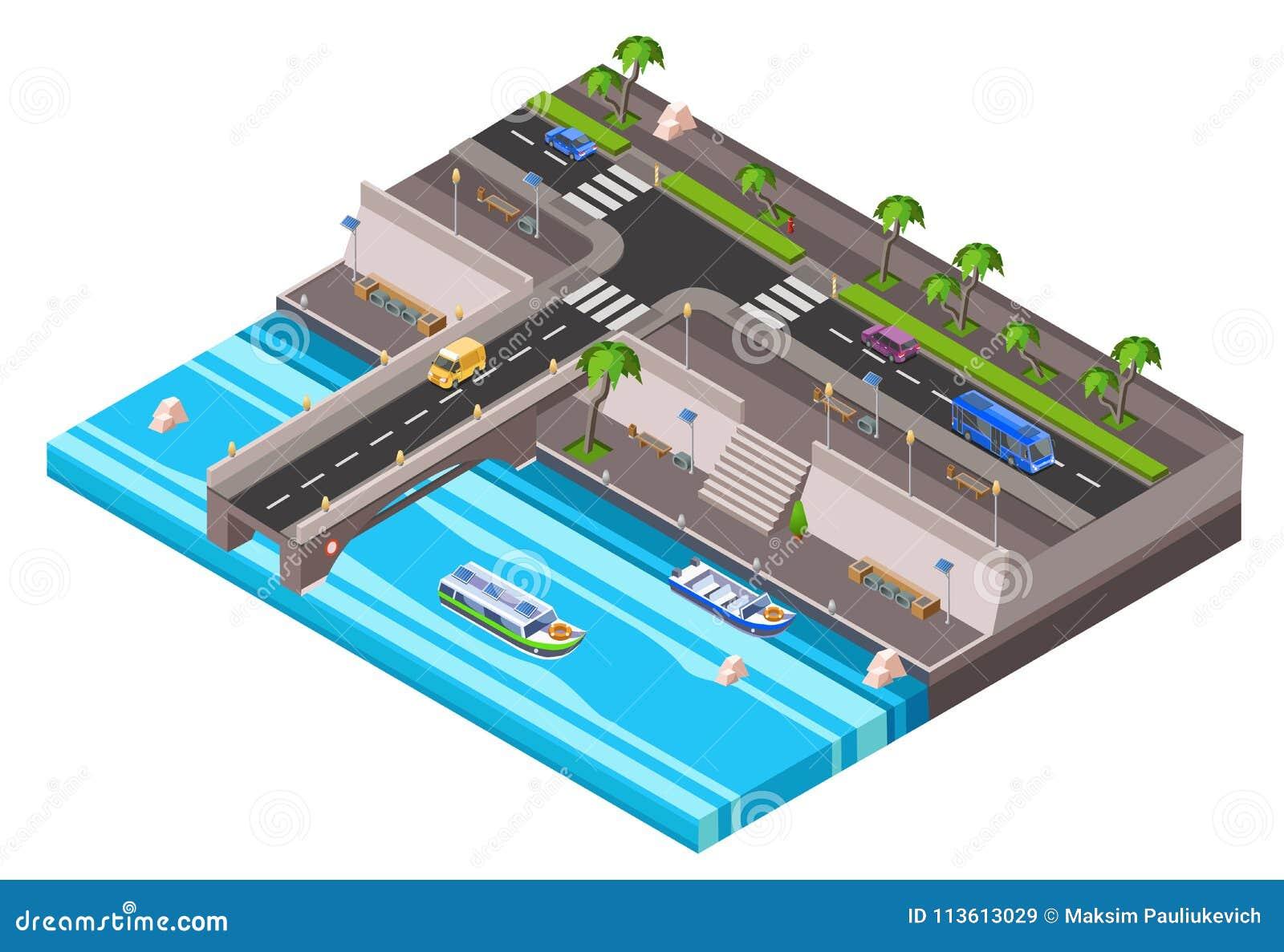 Camino isométrico del coche del terraplén de la orilla del vector