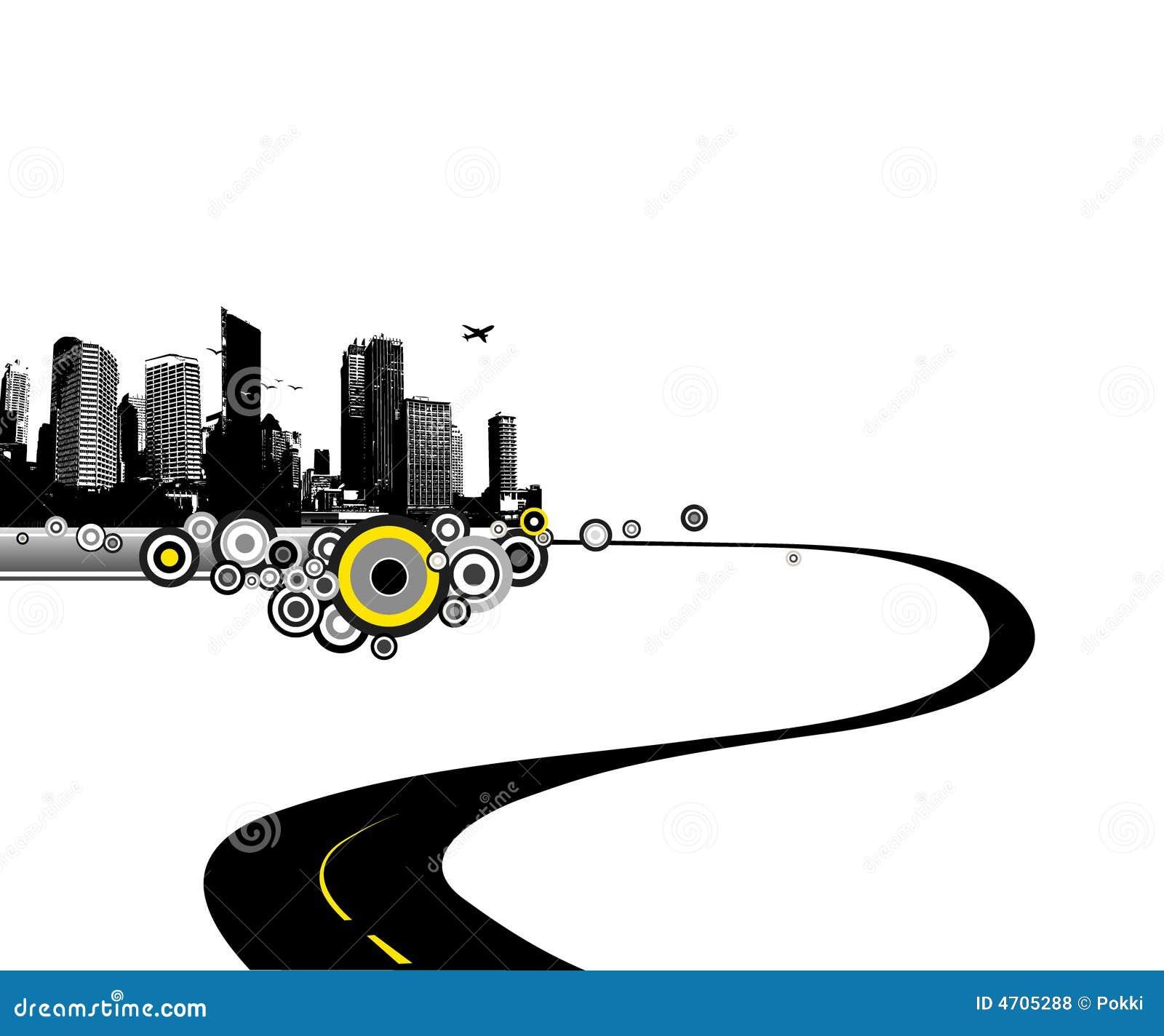 Camino a la ciudad. Arte del vector
