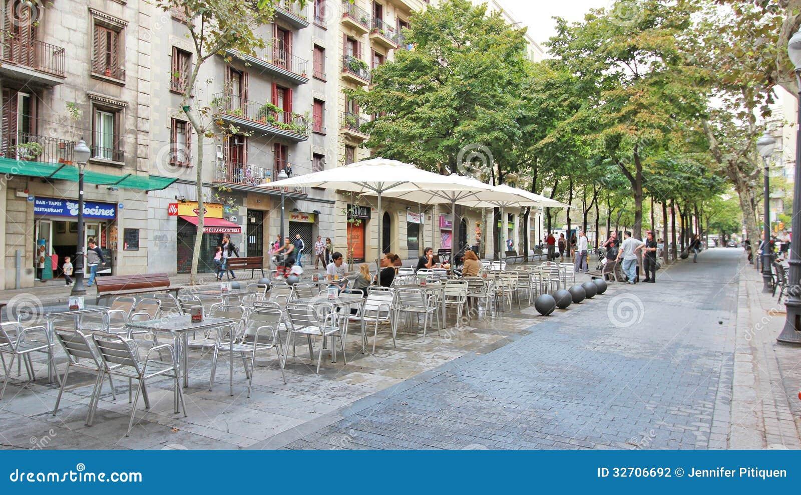 Camino Ramblas Poblenou Street Restaurant Seating Editorial Photography - Ima...