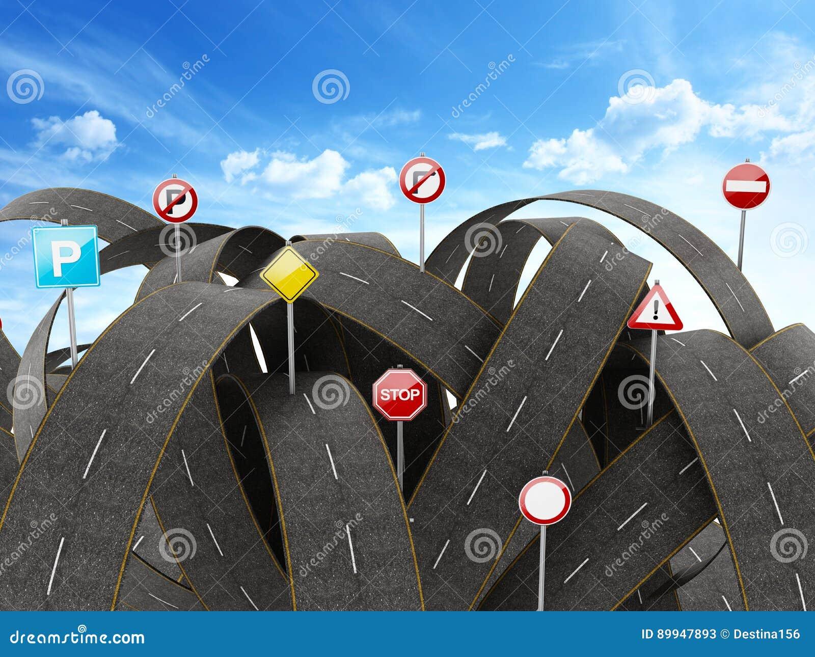 Caminos y señales de tráfico enredados, apretados, caóticos ilustración 3D