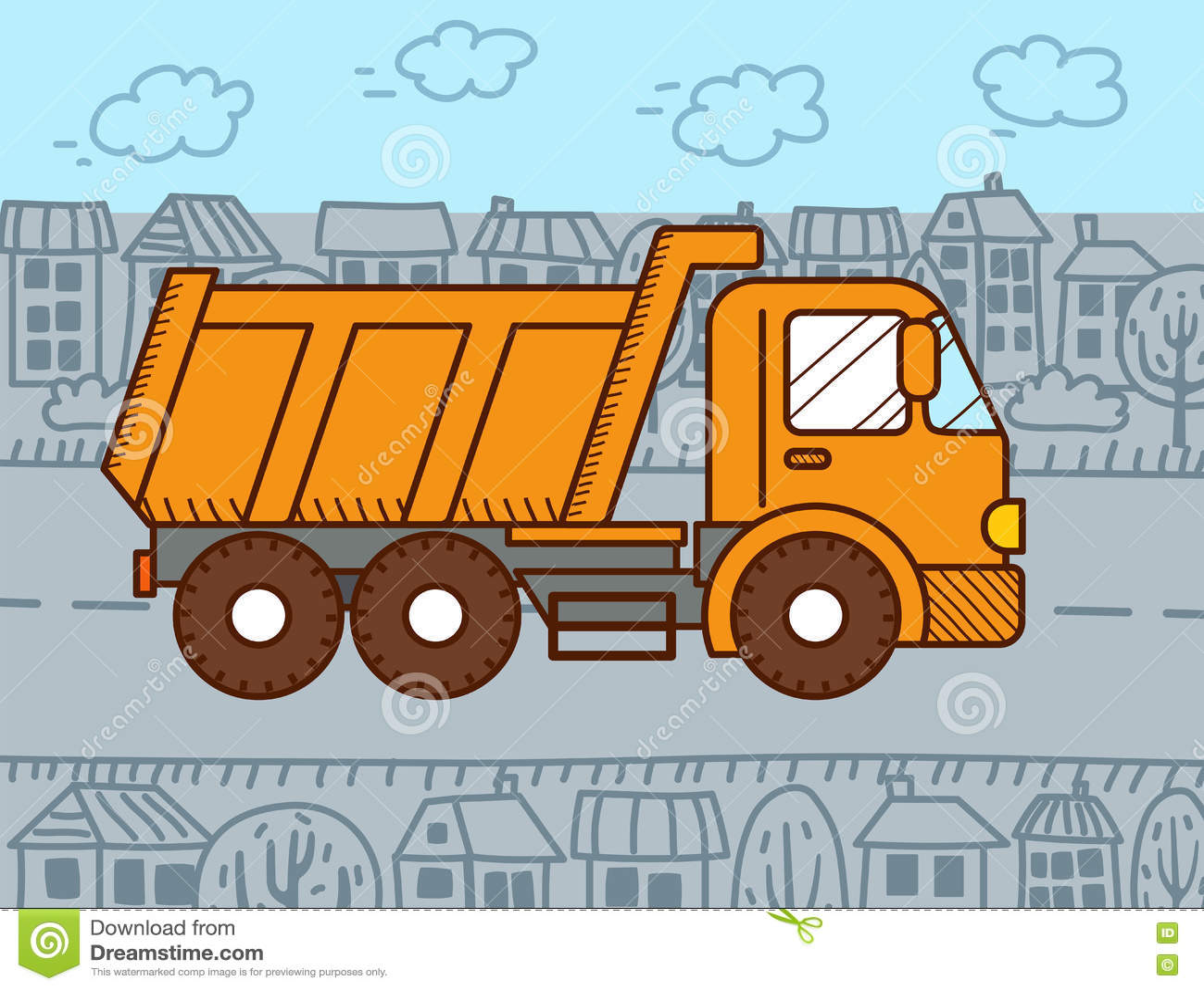 Camion A Benne Basculante De Dessin Anime De Vecteur Illustration De Vecteur Illustration Du Camion Anime 72358732