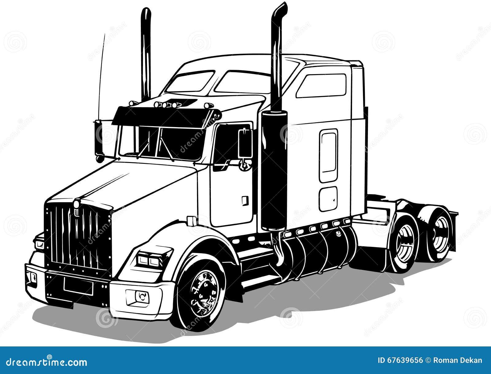 Camion am ricain illustration de vecteur image 67639656 - Camion americain dessin ...