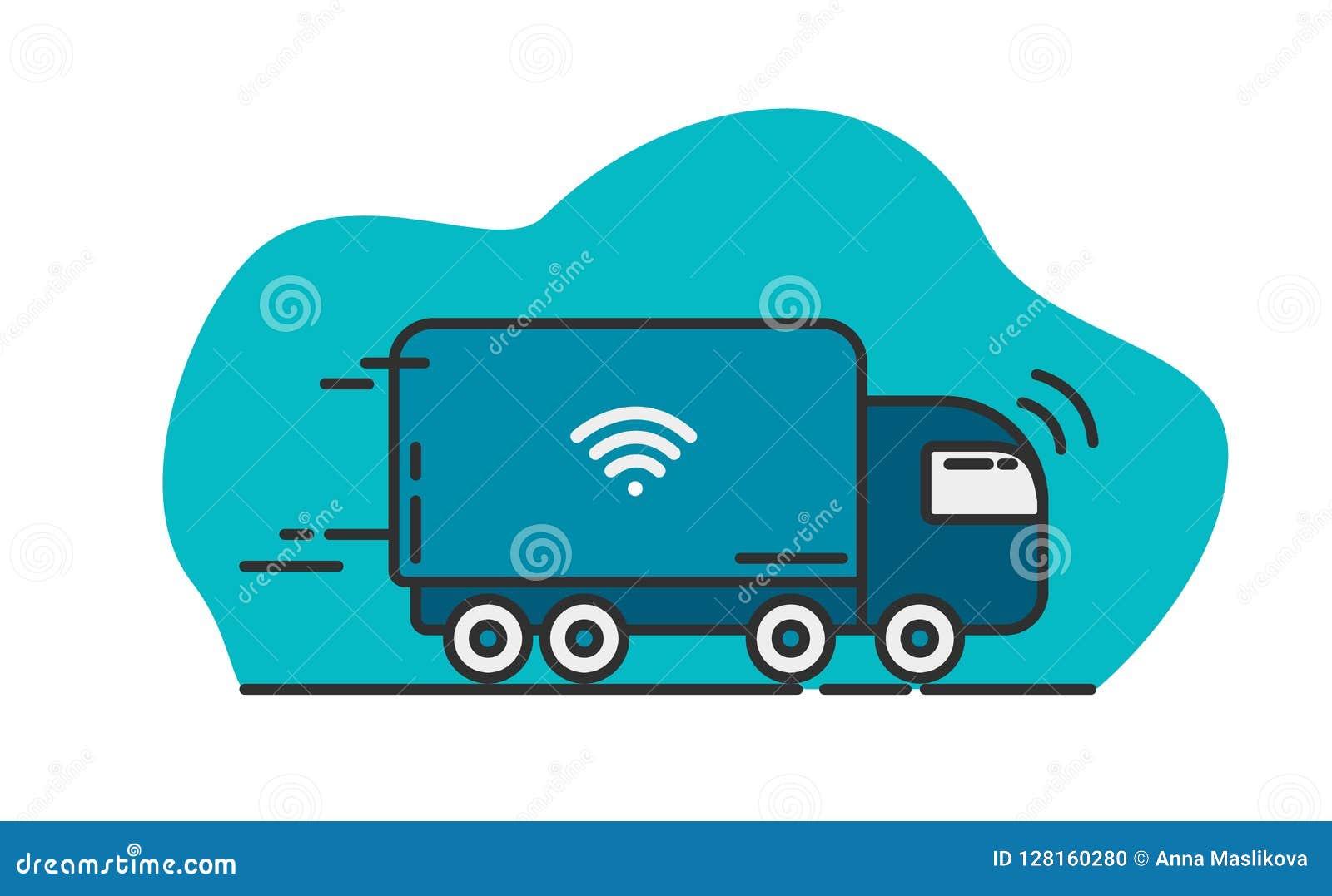 Camion auto-moteur bleu - future technologie de transport Vecteur