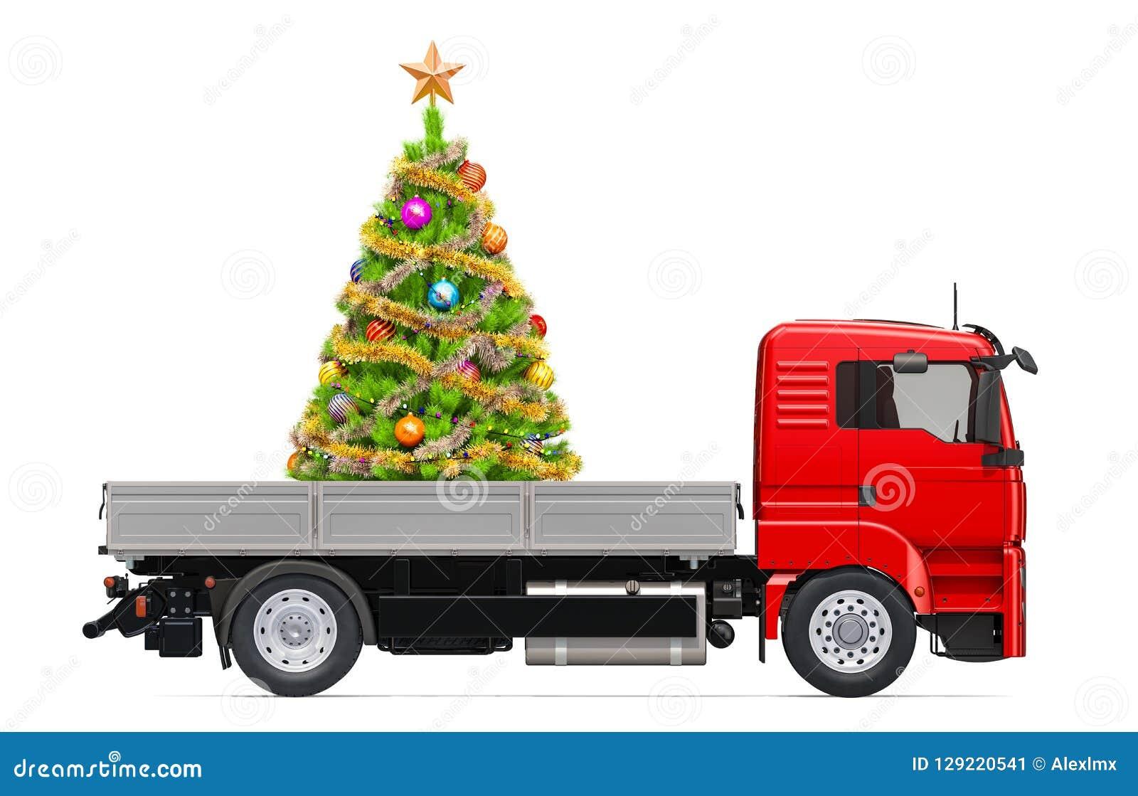 Camion avec l arbre de Noël Concept de la livraison de cadeau, rendu 3D