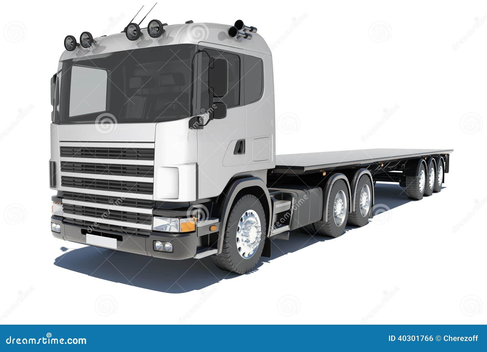 camion avec la plate forme de semi remorque illustration stock illustration du transport long. Black Bedroom Furniture Sets. Home Design Ideas