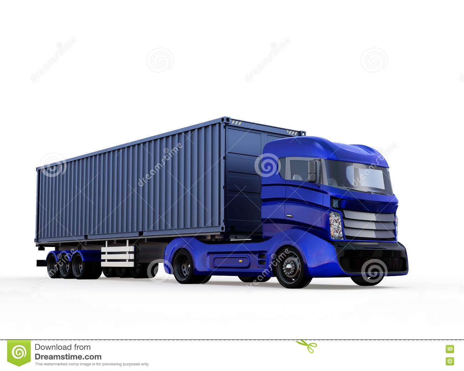 Camion bleu de récipient d isolement sur le fond blanc