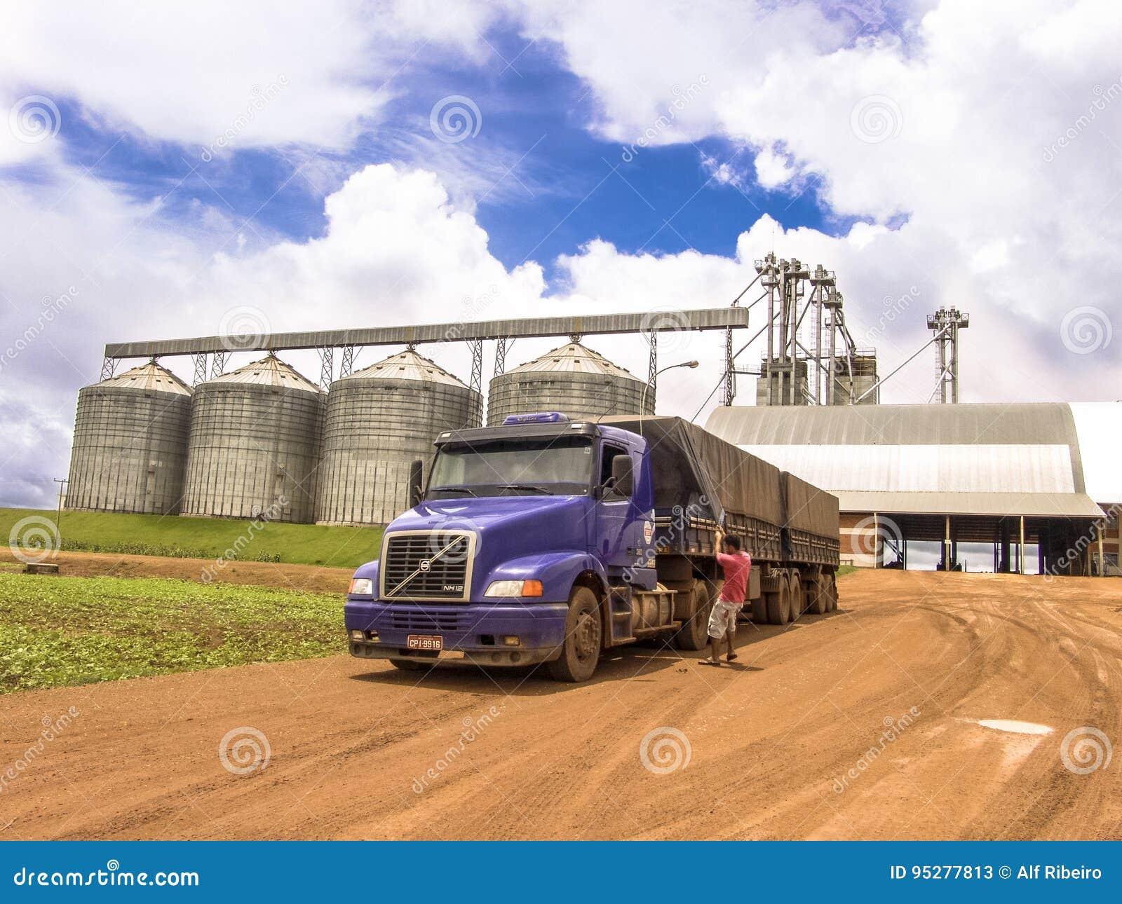 Camion caricato con la soia