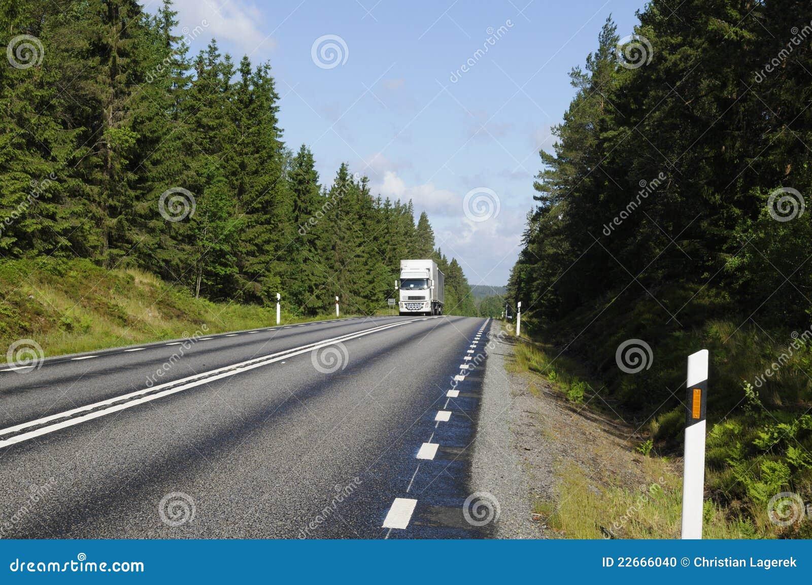 Camion che guida un itinerario scenico del paese