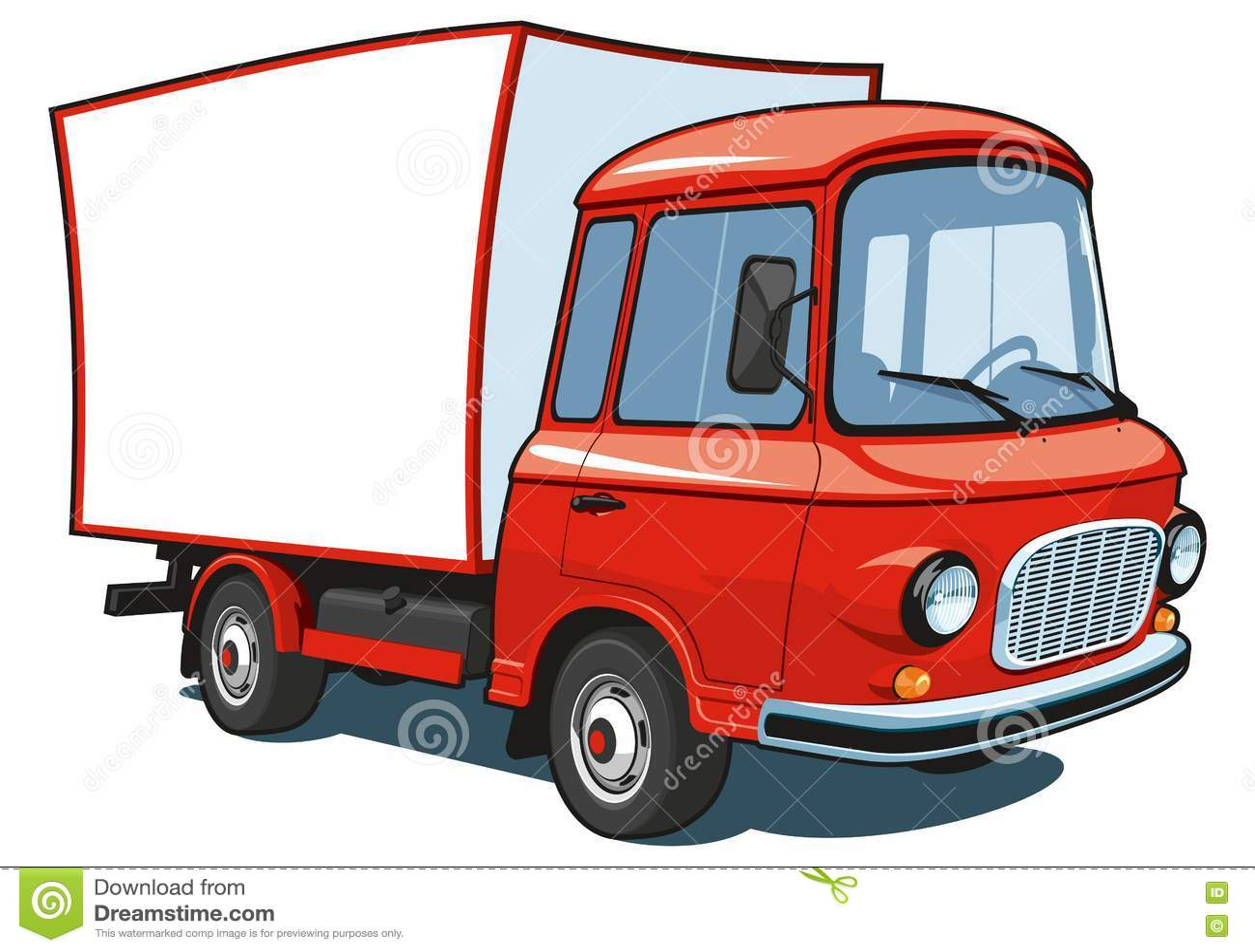 Camion commercial rouge de bande dessinée