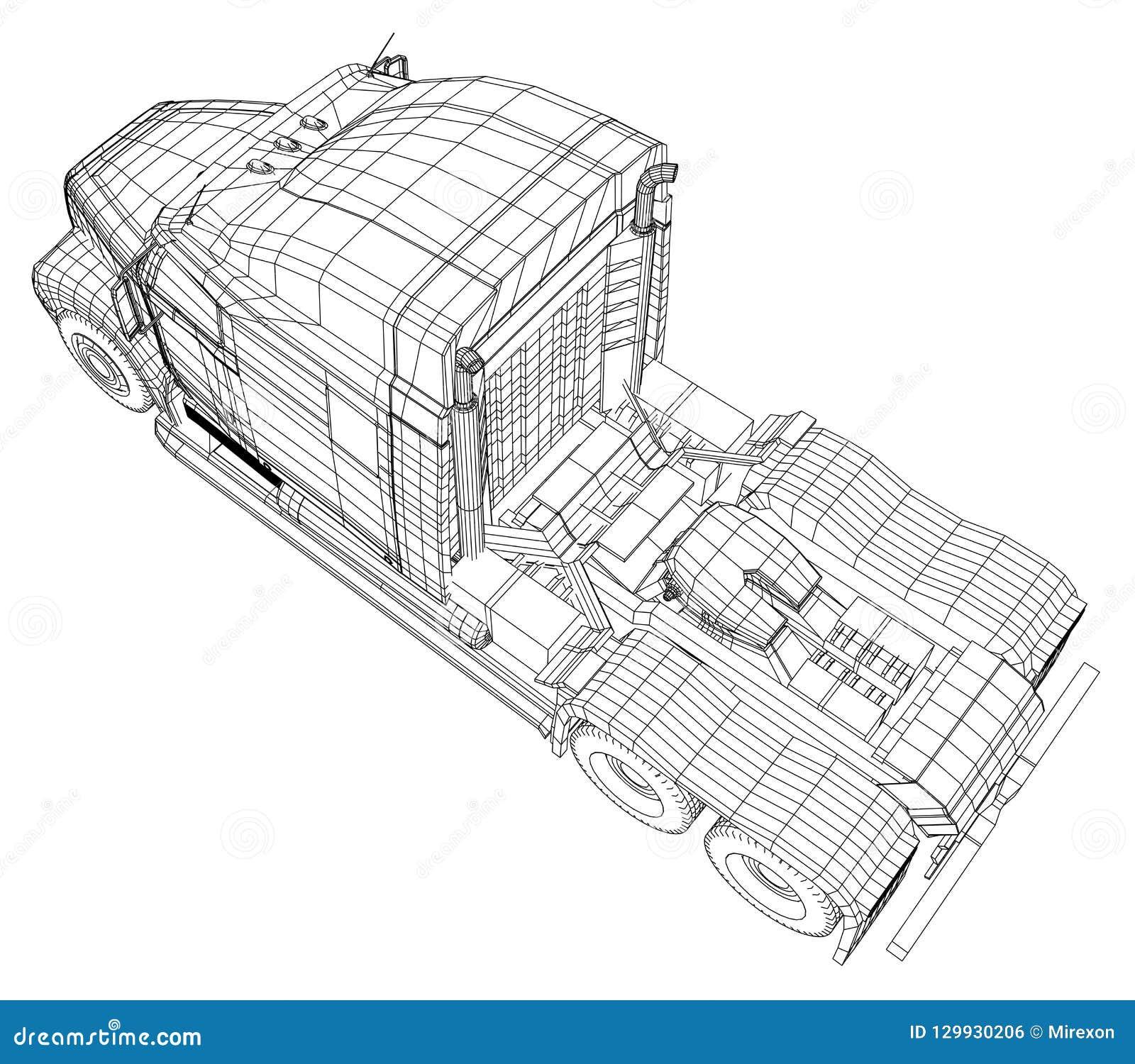 Camion de livraison commercial de cargaison D isolement Illustration créée de 3d Fil-cadre