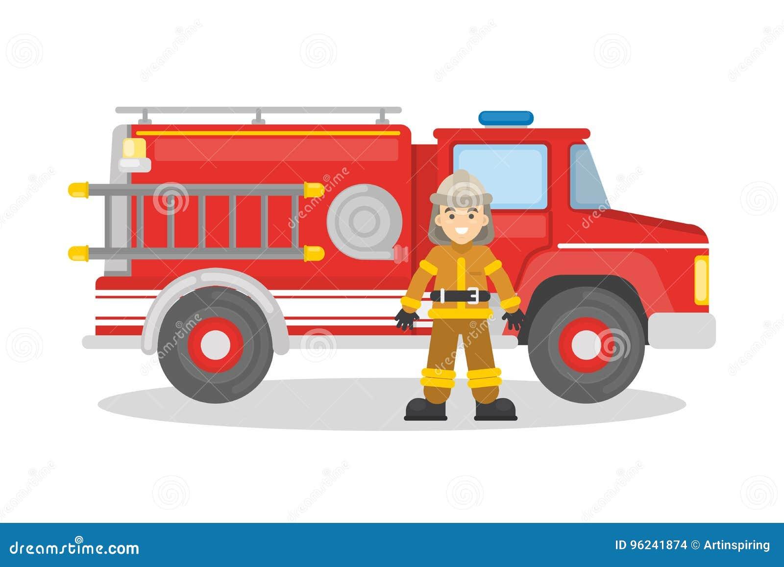 Camion de pompiers avec le sapeur-pompier