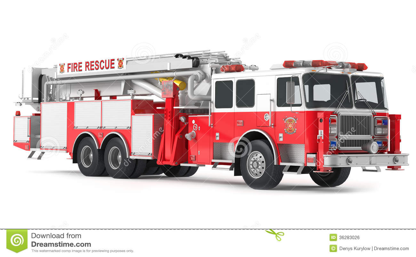 Camion de pompiers d 39 isolement image libre de droits - Image camion pompier ...