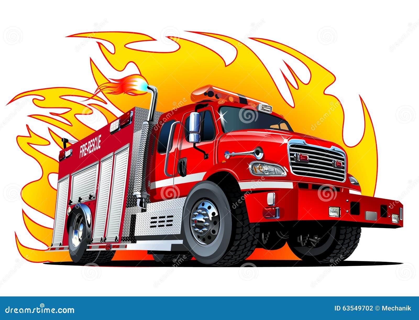 Camion De Pompiers De Bande Dessinee De Vecteur Illustration De