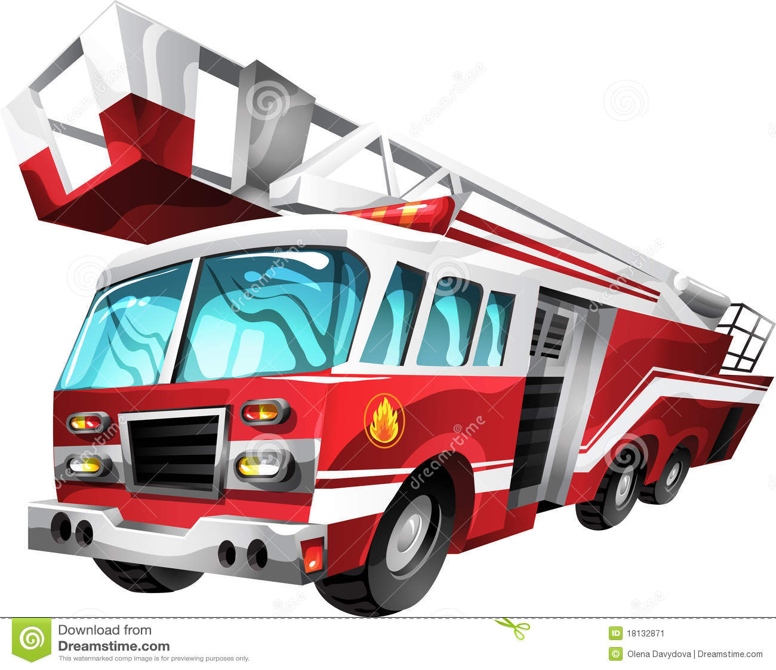 Camion de pompiers de dessin anim image stock image - Dessiner un camion de pompier ...