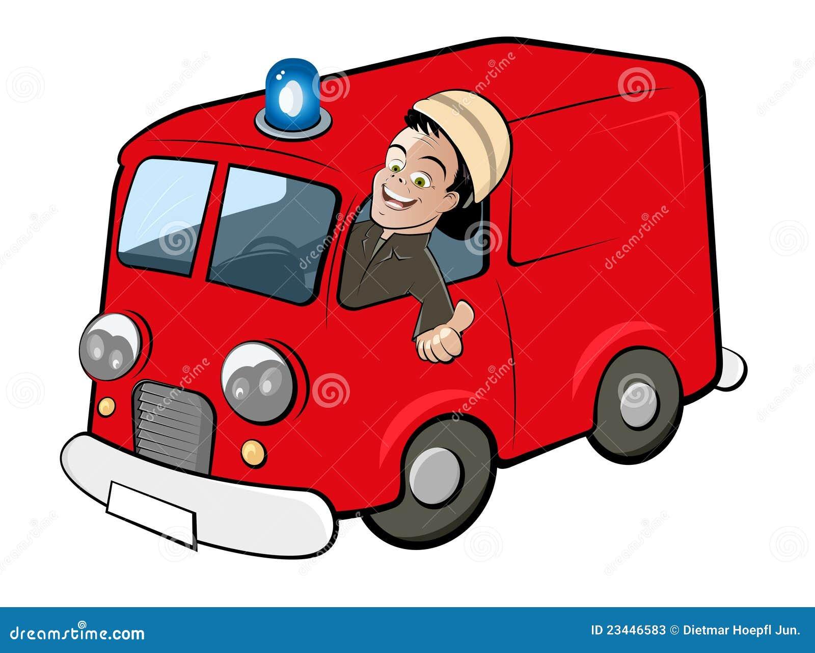 Camion De Pompiers De Dessin Anime Illustration De Vecteur