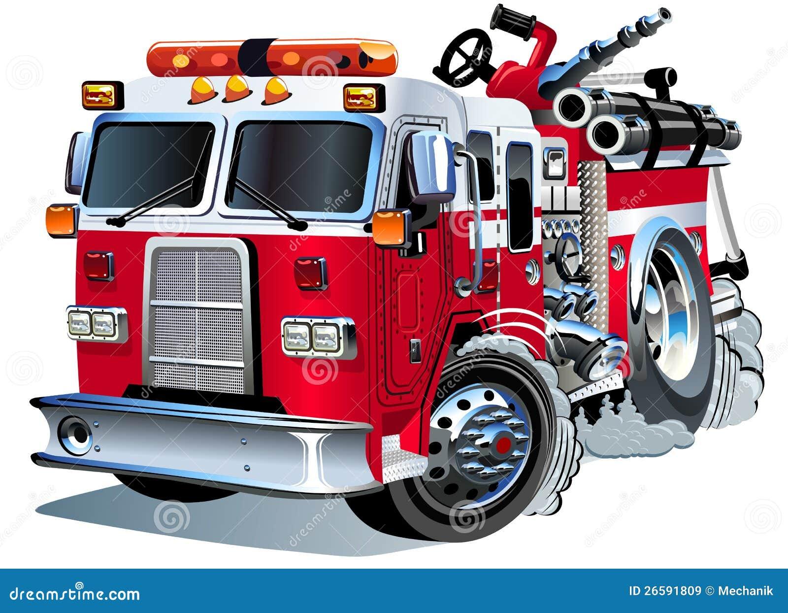 Camion De Pompiers De Dessin Anime De Vecteur Illustration De