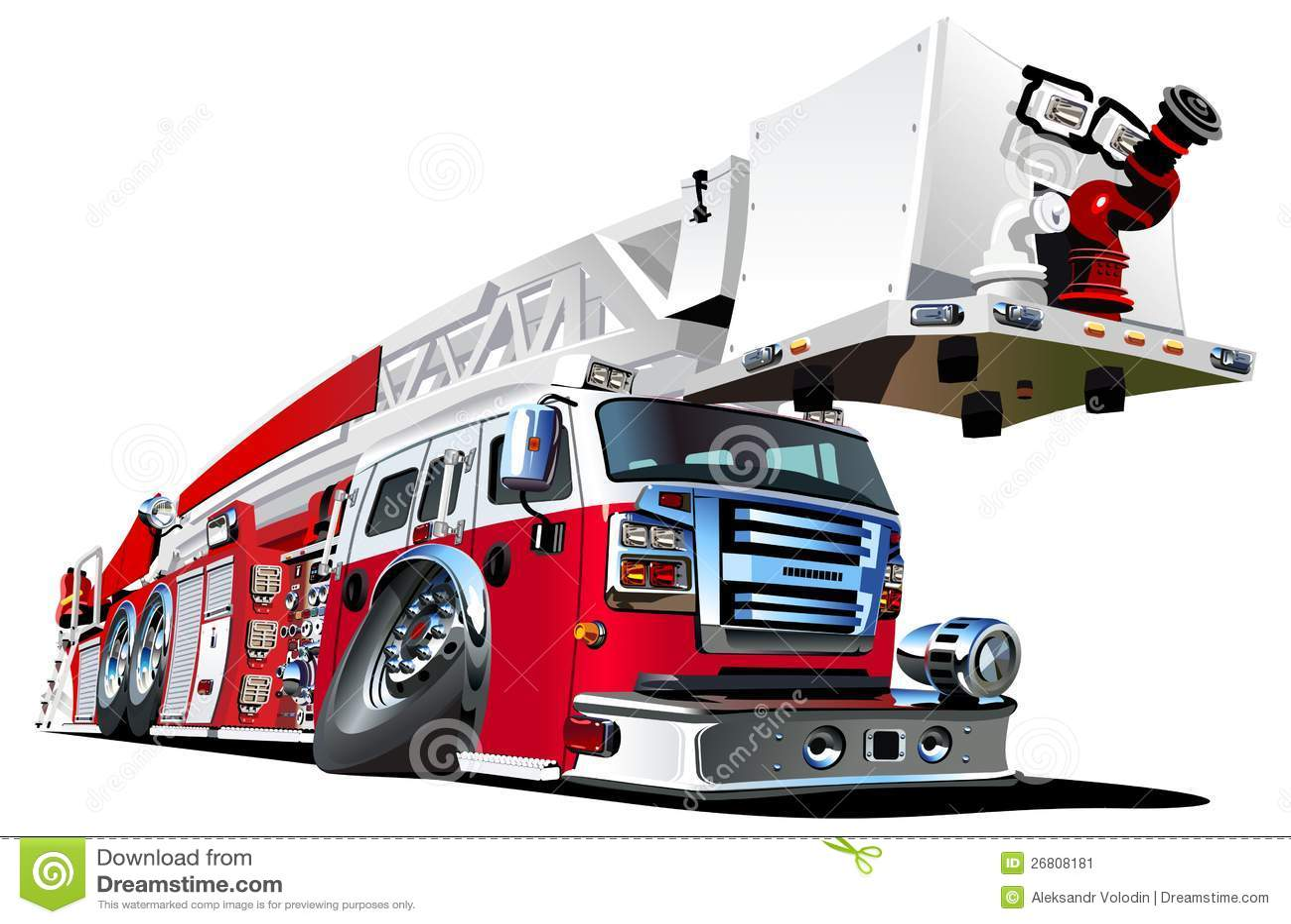 Camion de pompiers de dessin anim de vecteur image stock image 26808181 - Dessin pompier facile ...