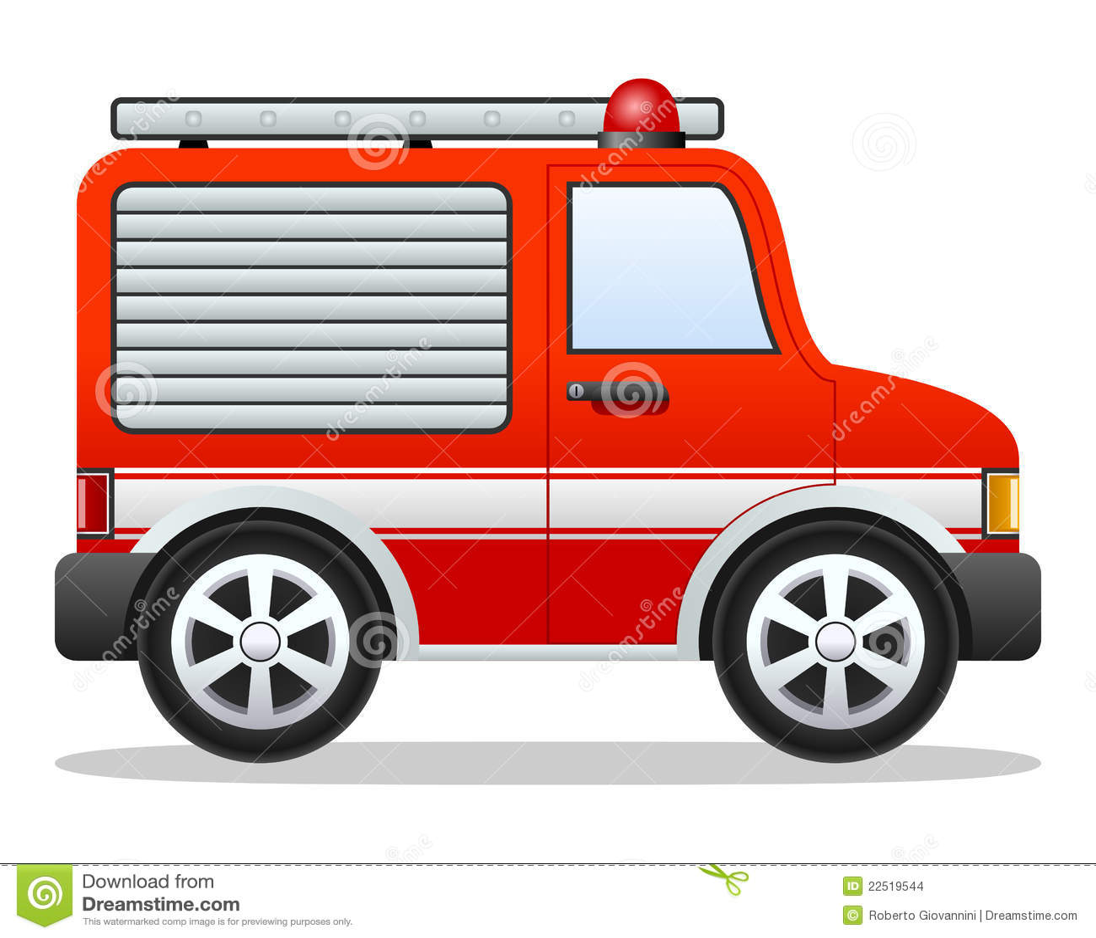 Camion De Pompiers De Rouge De Dessin Anime Illustration De