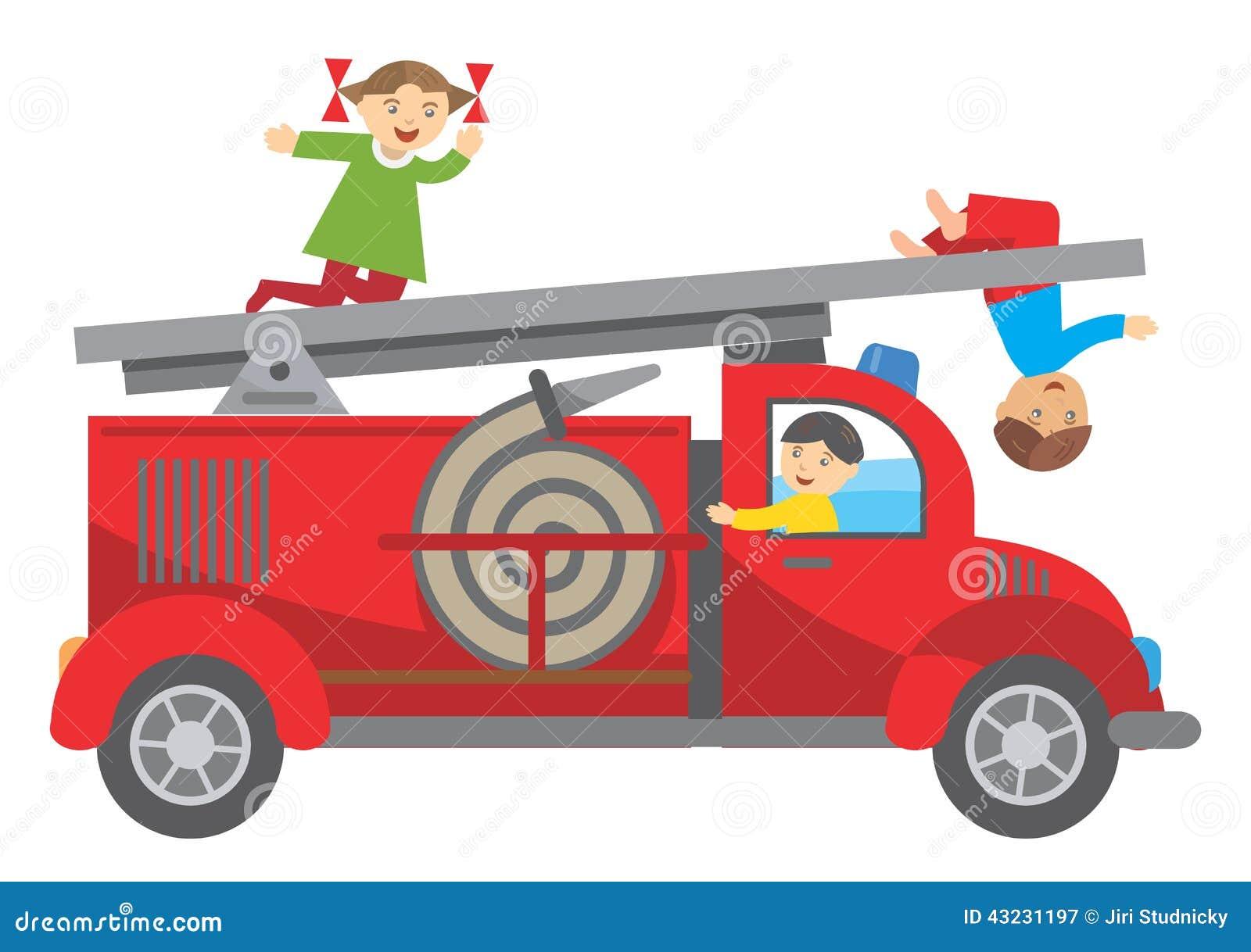 Camion de pompiers et enfants illustration de vecteur image 43231197 - Camion de pompier enfant ...