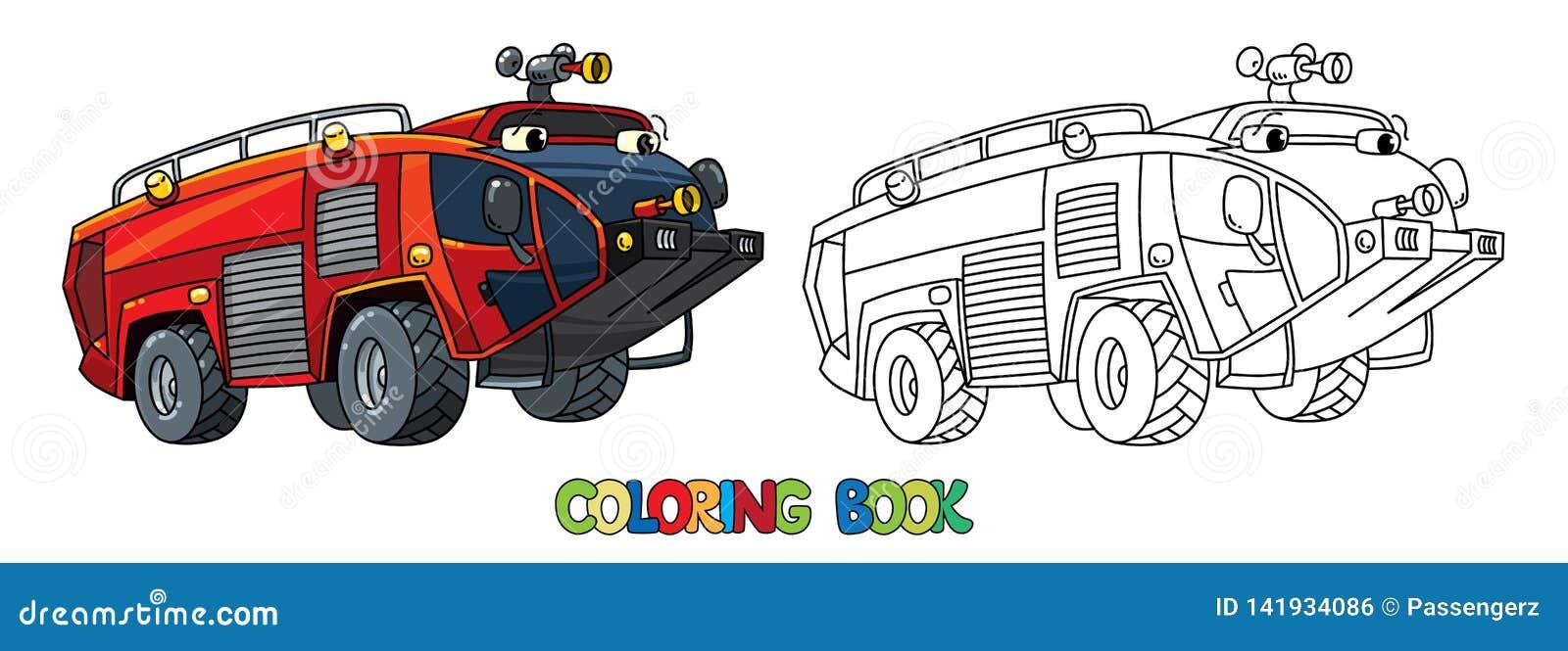 Camion De Pompiers Ou Pompe A Incendie Avec Livre De Coloriage De Yeux Illustration De Vecteur Illustration Du Avec Camion 141934086