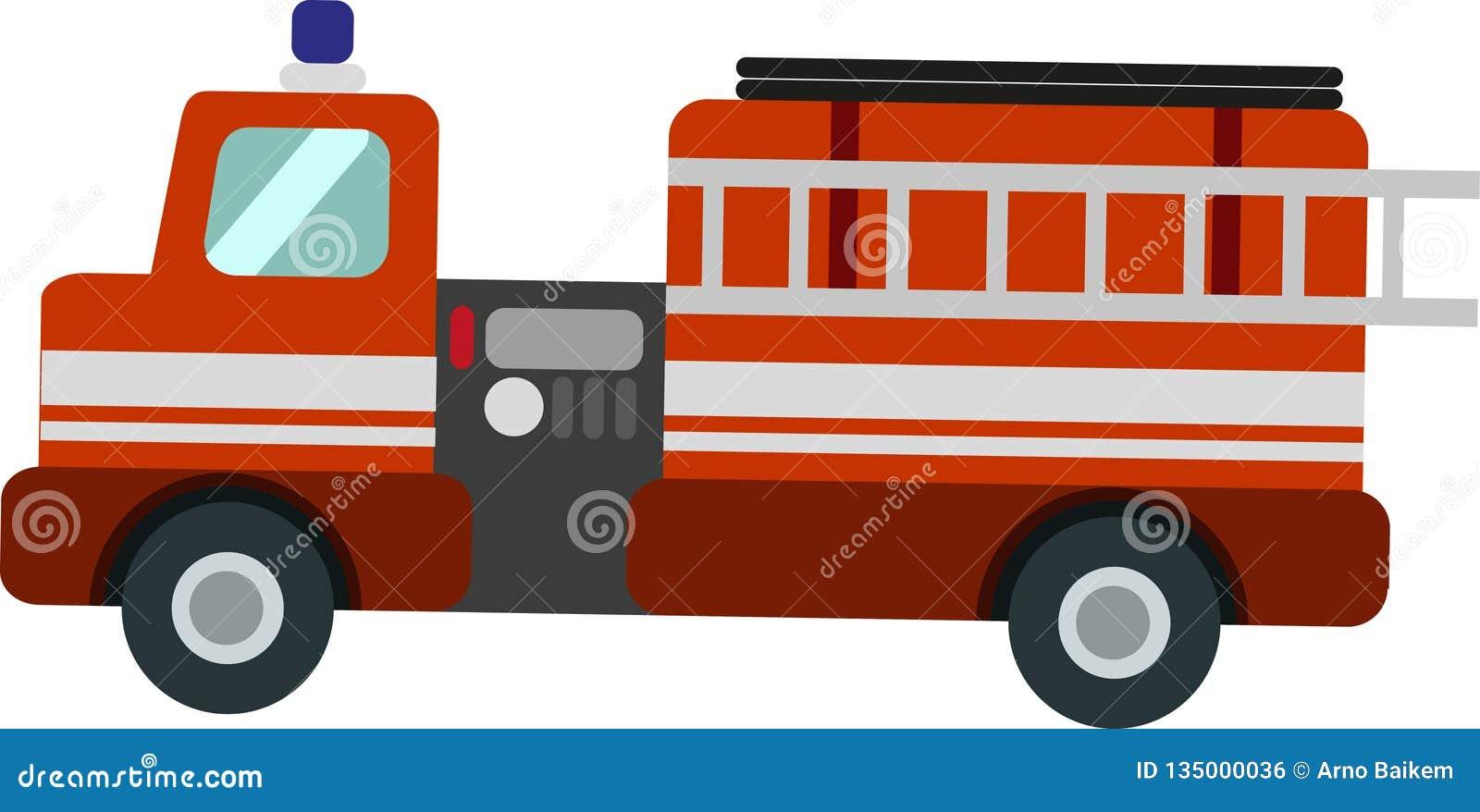 Camion de pompiers de vecteur sur le Blackground blanc