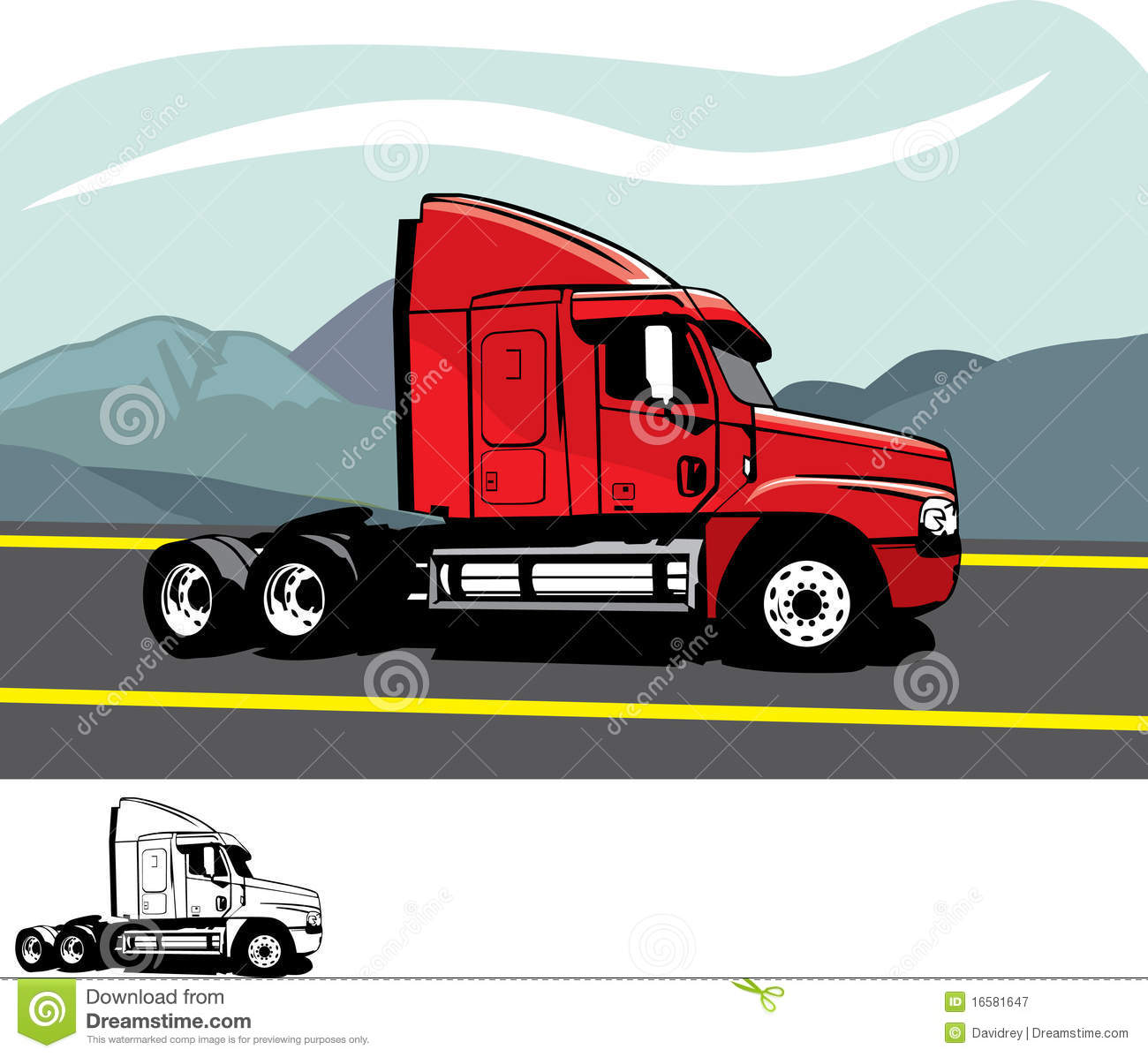 Camion de remorque illustration de vecteur illustration - Dessin de camion semi remorque ...