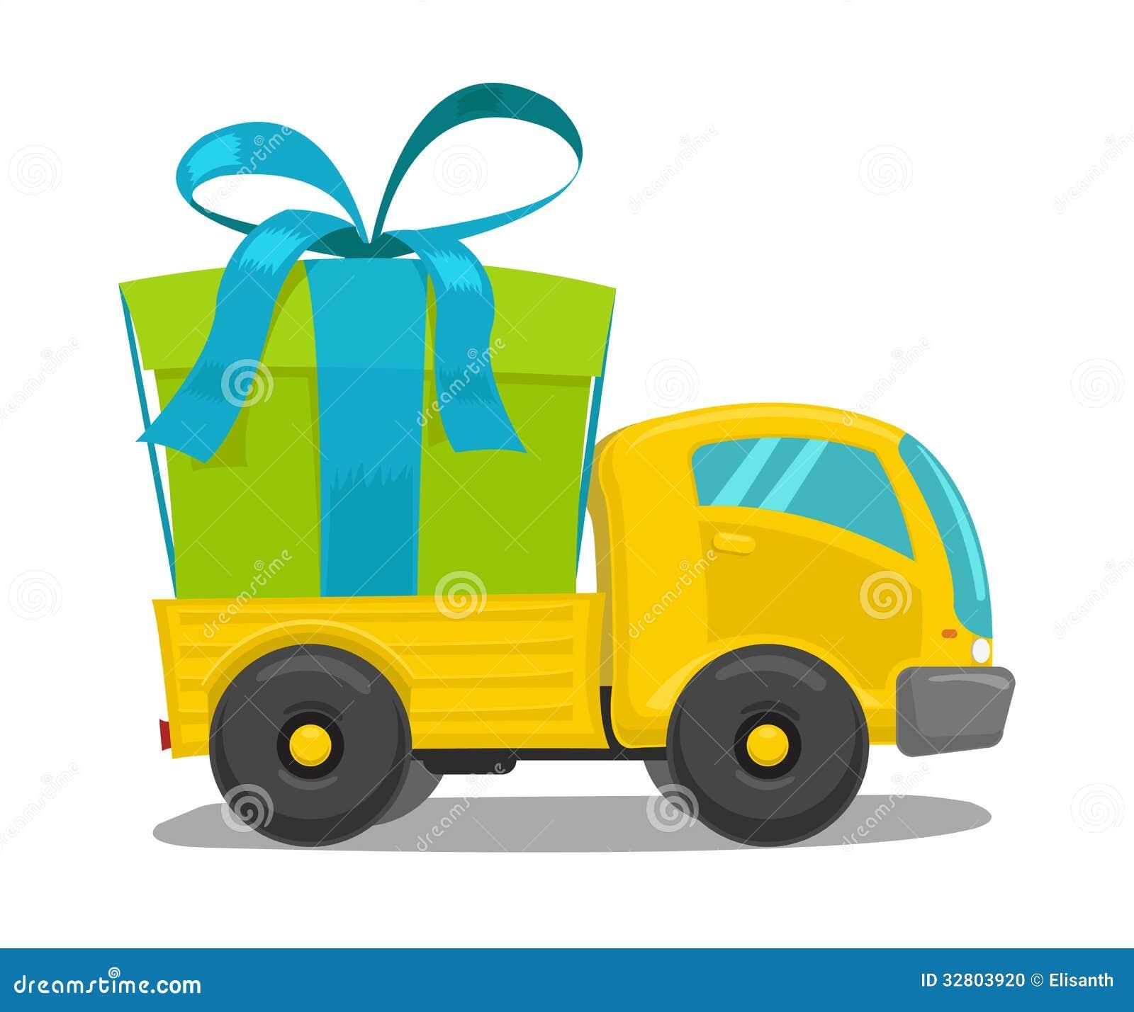 Camion de vecteur avec le boîte-cadeau