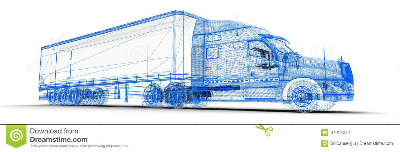 Camion de Wireframe