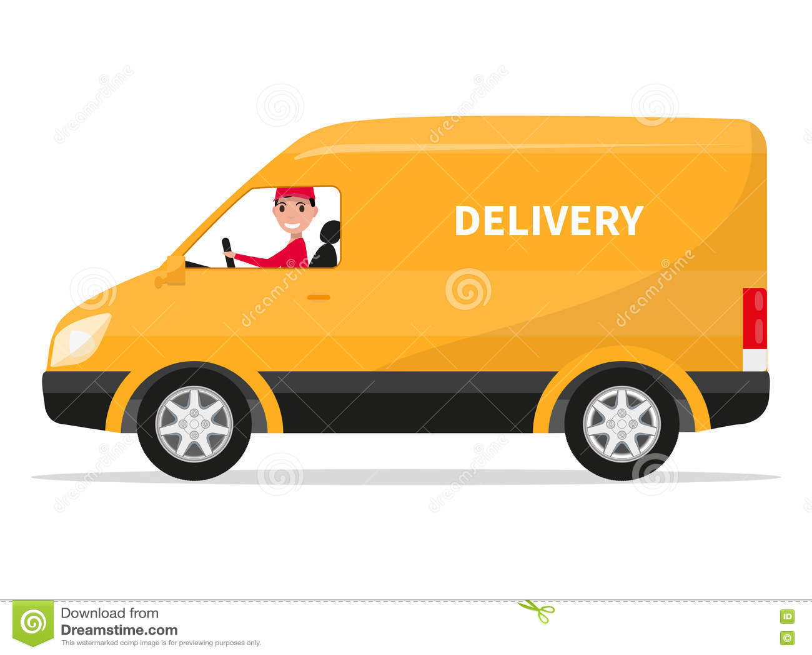 Camion del furgone di consegna del fumetto di vettore con il fattorino
