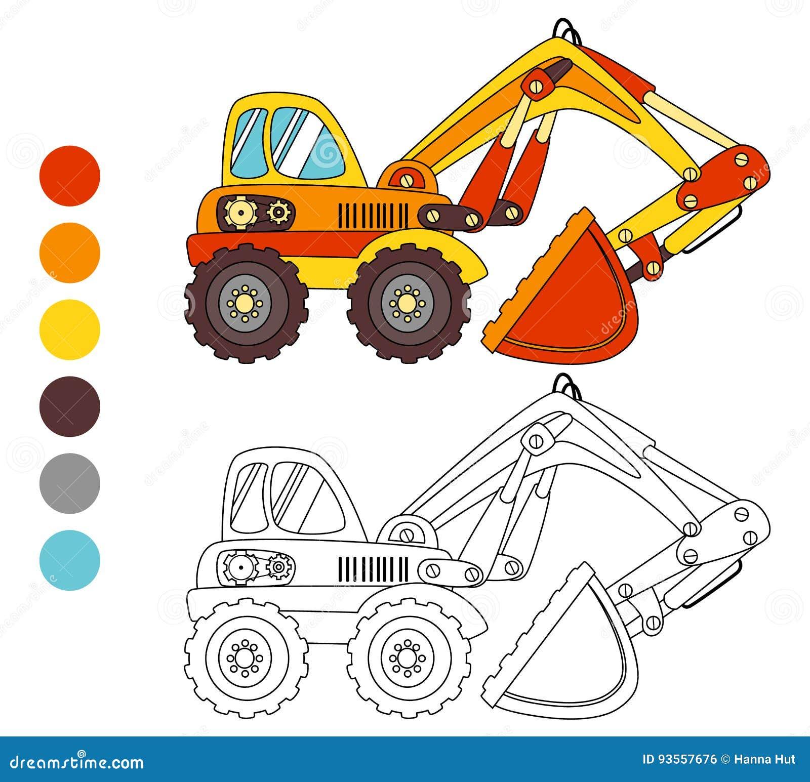 Disegni Da Colorare Per Bambini Escavatori.Camion Dell Escavatore Del Libro Da Colorare Disposizione