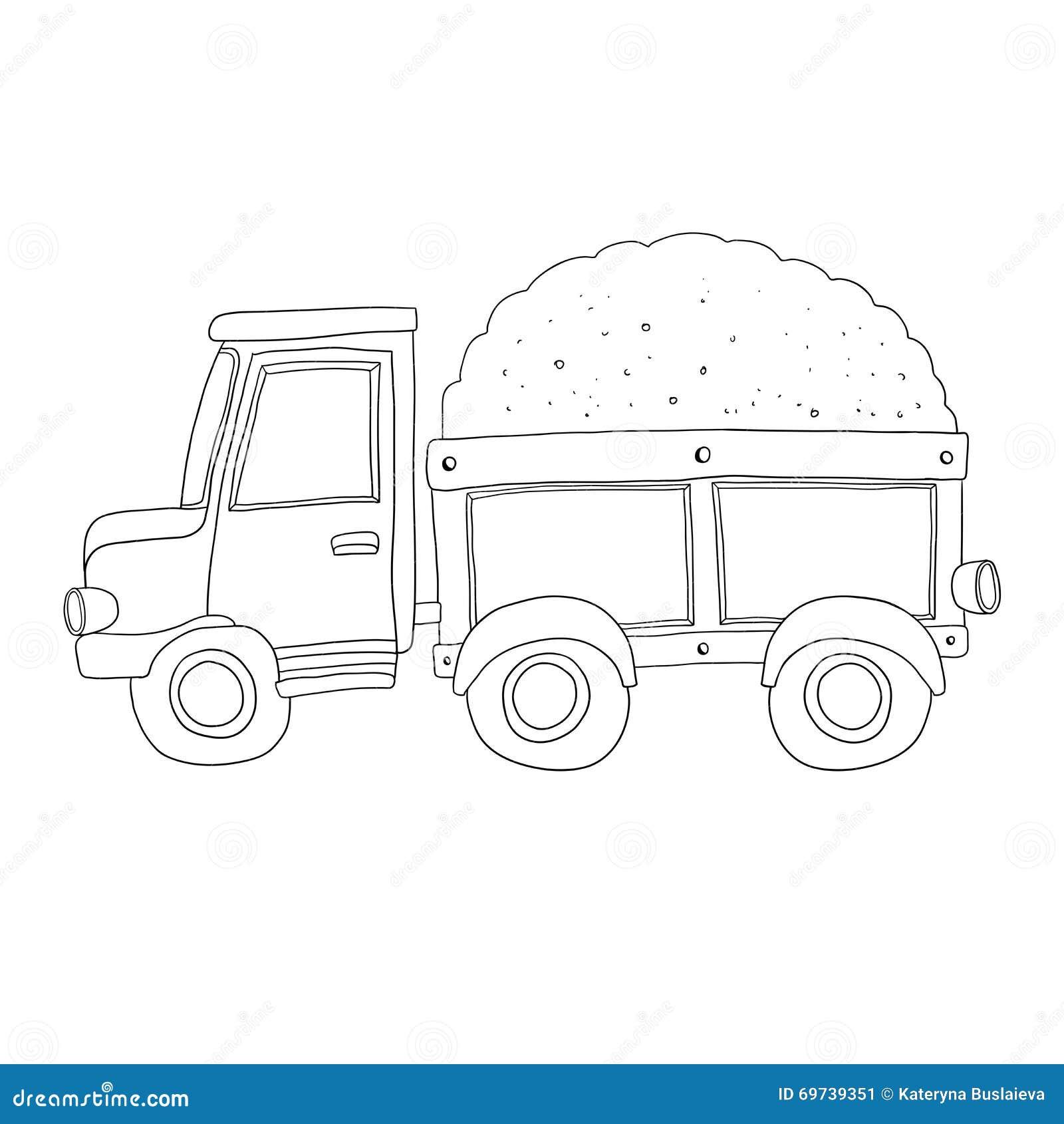 Camion della sabbia di vettore per il libro da colorare - Pagina da colorare camion della spazzatura ...