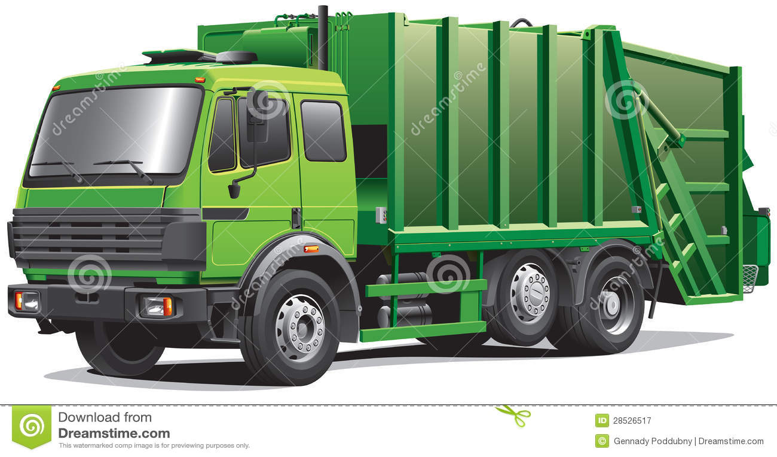 Camion di immondizia verde
