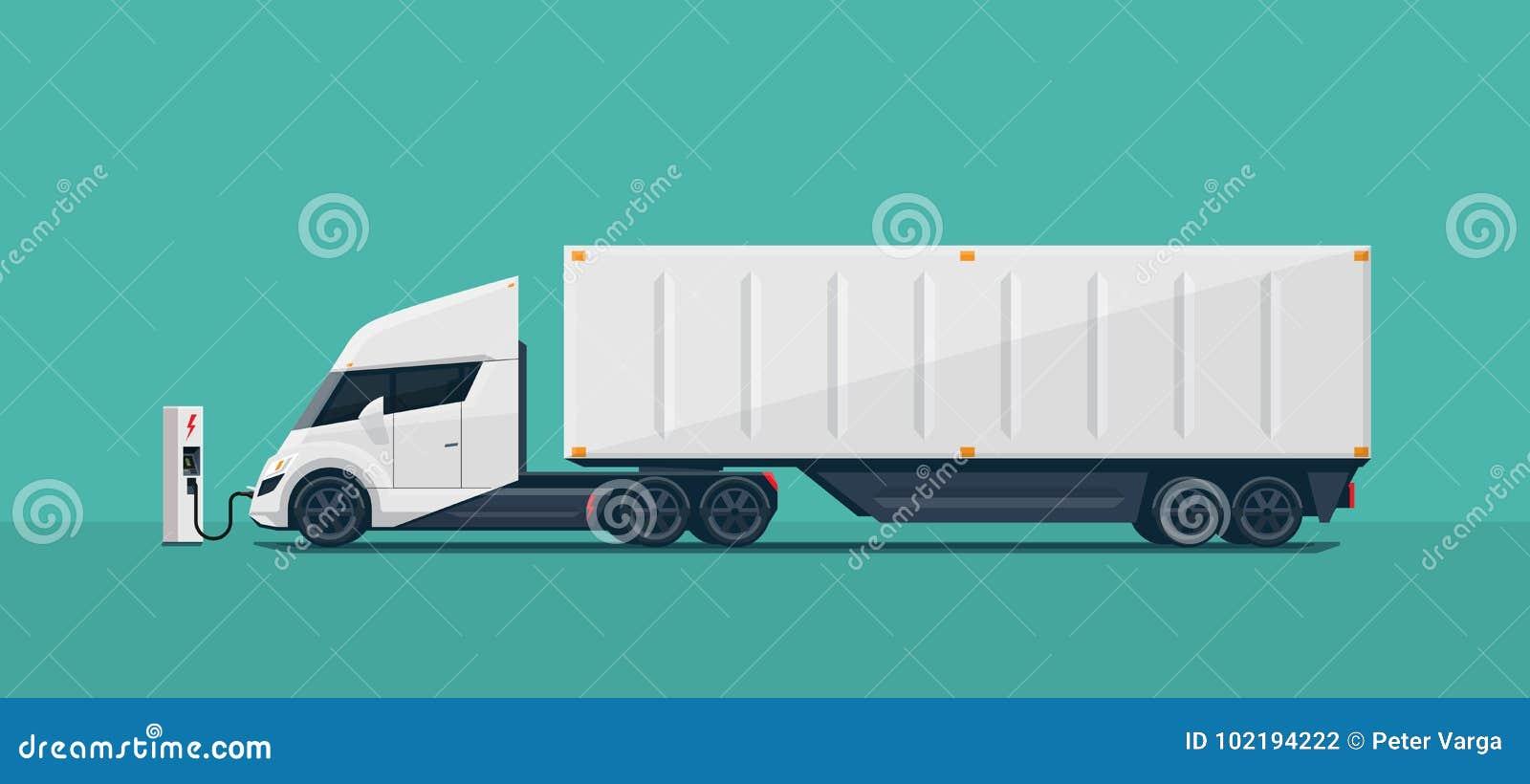 Camion elettrico futuristico moderno dei semi con il rimorchio che fa pagare alla C