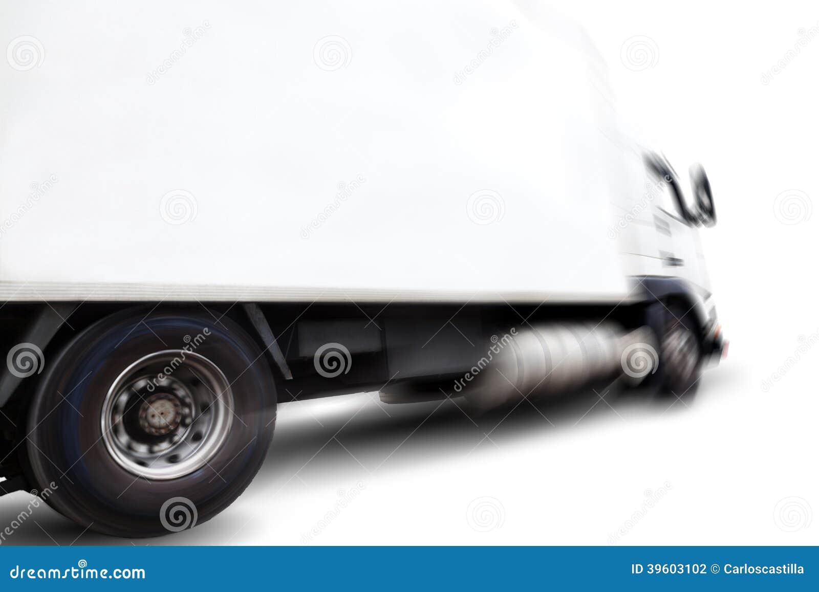 Camion et tache floue de mouvement