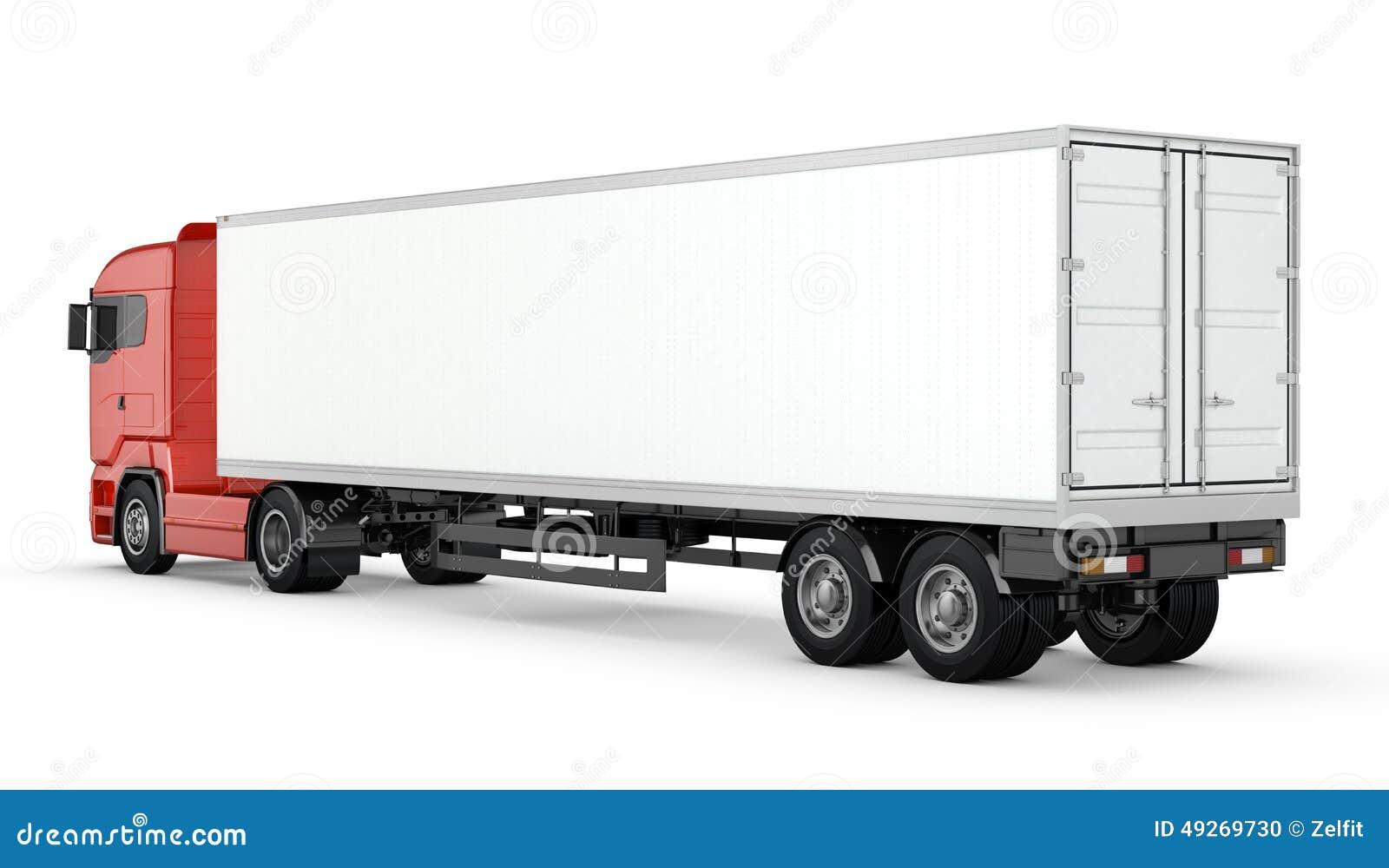 Camion rouge avec la semi remorque vide blanche d for Prix d un conteneur vide