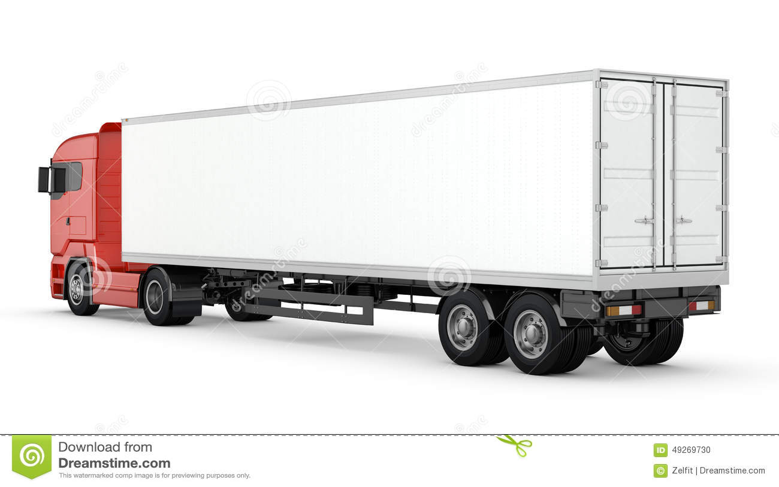 camion rouge avec la semi remorque vide blanche d 39 isolement illustration stock illustration du. Black Bedroom Furniture Sets. Home Design Ideas