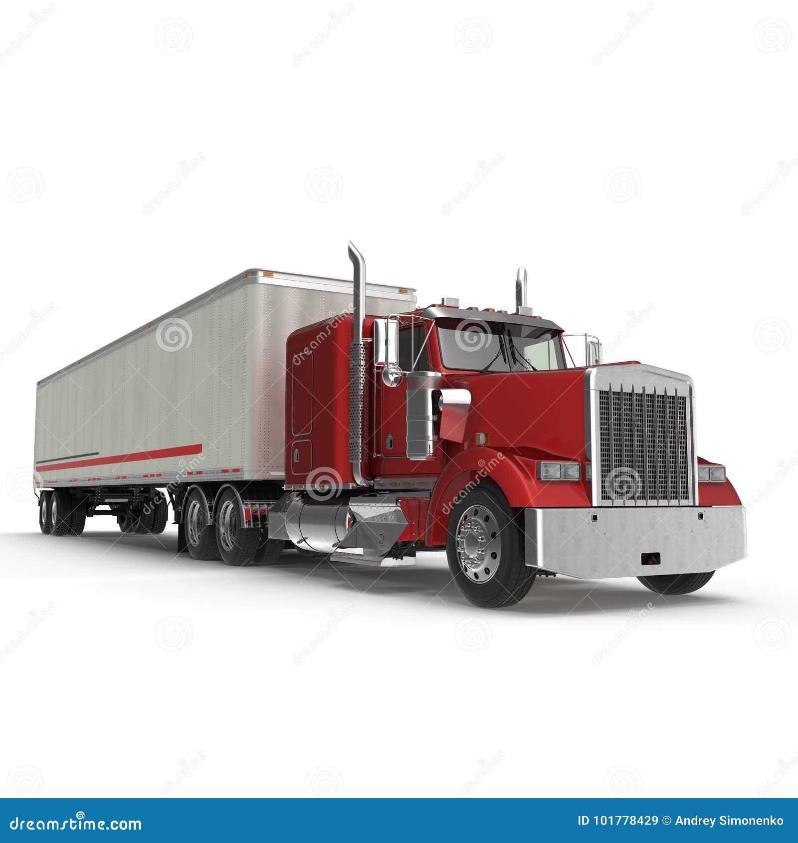 camion rouge avec une remorque sur l 39 illustration 3d blanche illustration stock illustration. Black Bedroom Furniture Sets. Home Design Ideas