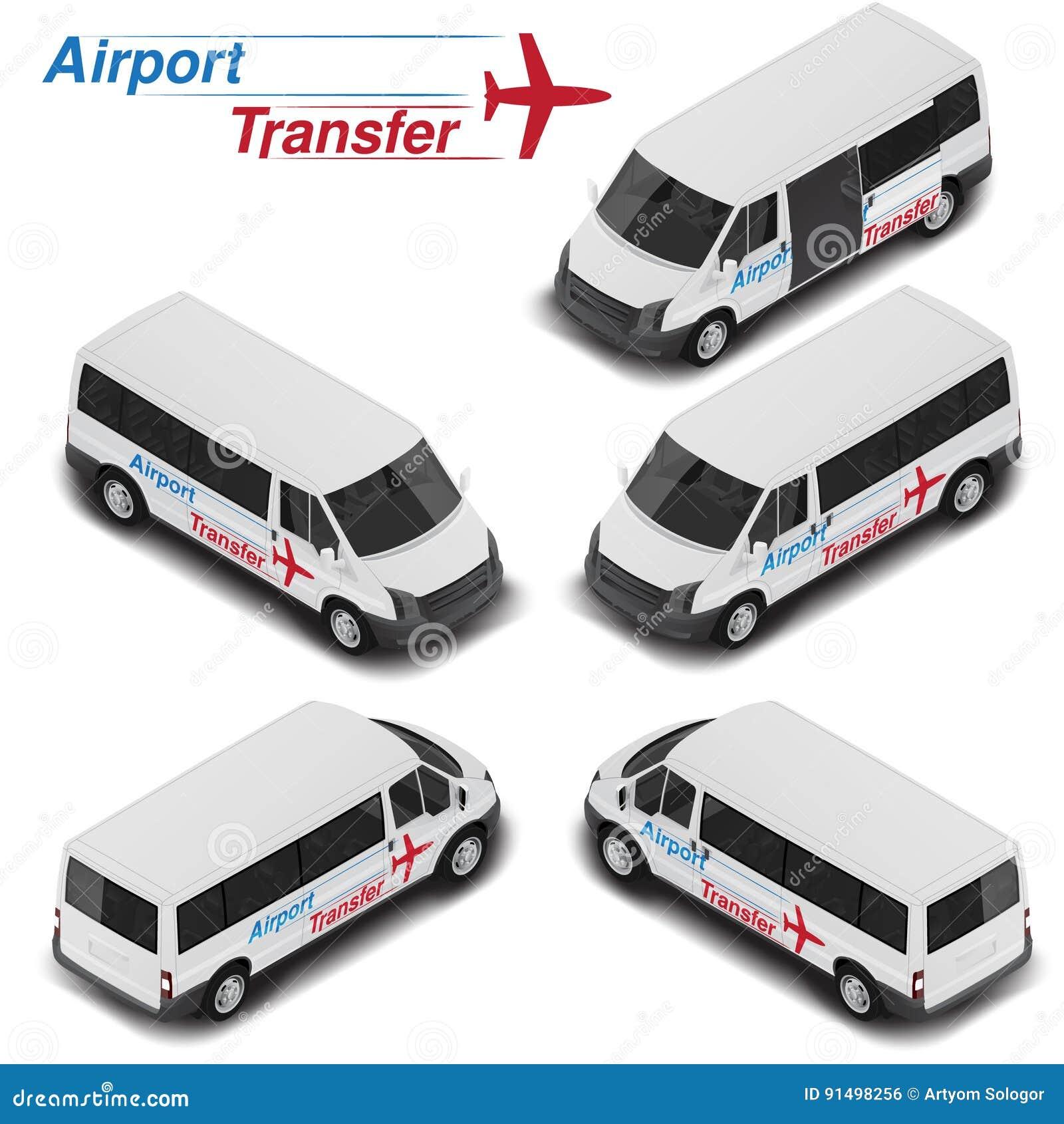 Camionete de alta qualidade isométrica do passanger do vetor para o transfer do aeroporto Ícone do transporte