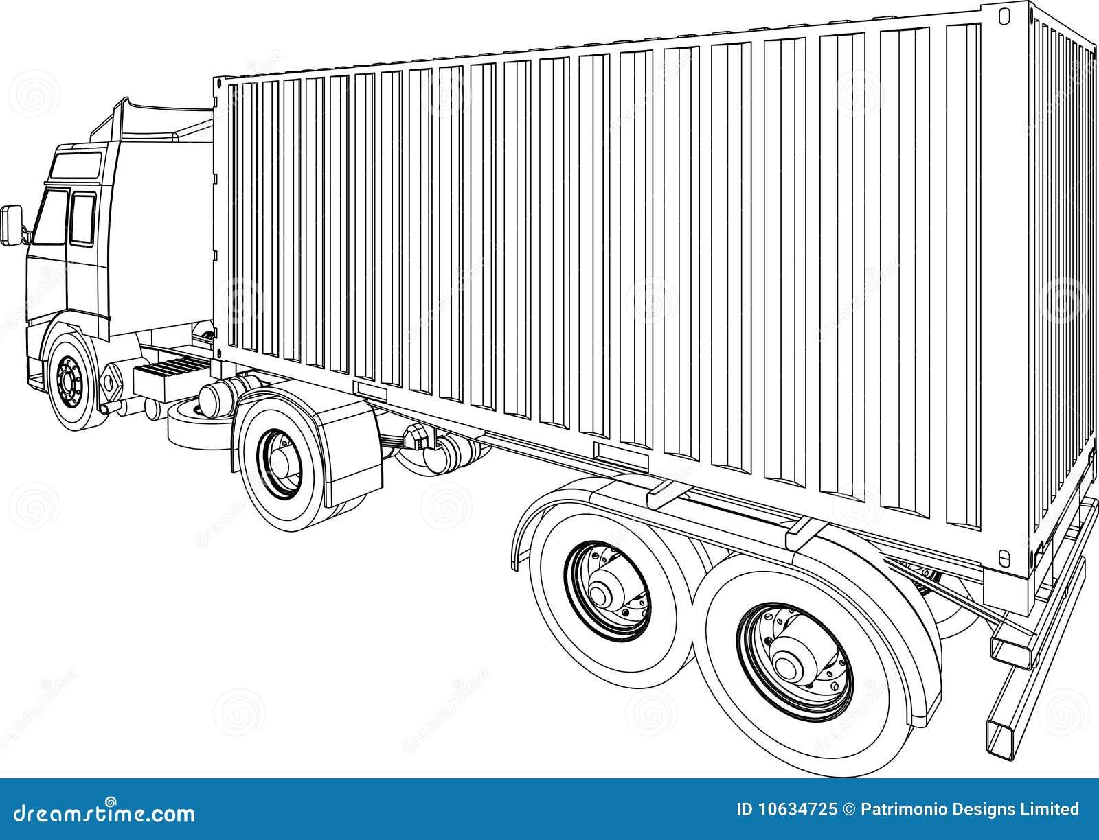 Camionete Do Recipiente Do Caminhão E Do Reboque Foto De