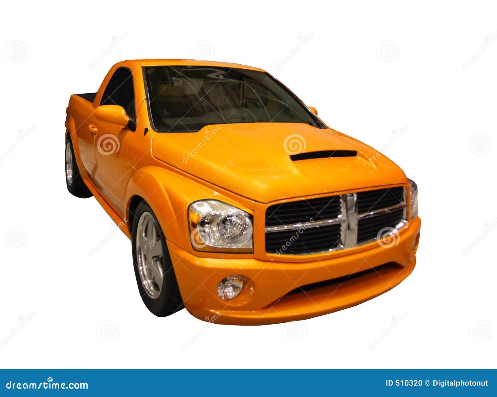 Camionnette de livraison jaune sportive de mémoire vive de détour d isolement au-dessus du blanc